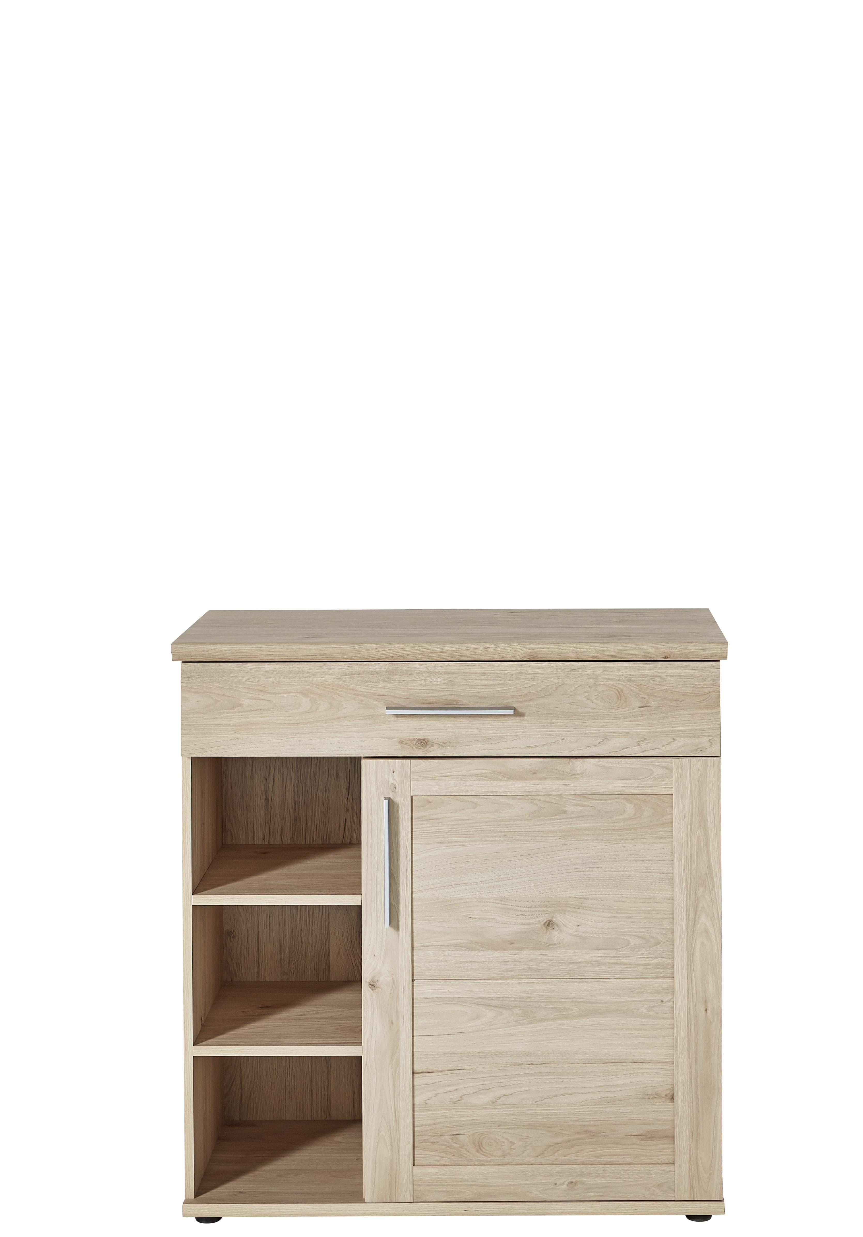 Cabinet hol din pal, cu 1 usa si 1 sertar, Fines Natural, l92xA40xH97 cm imagine