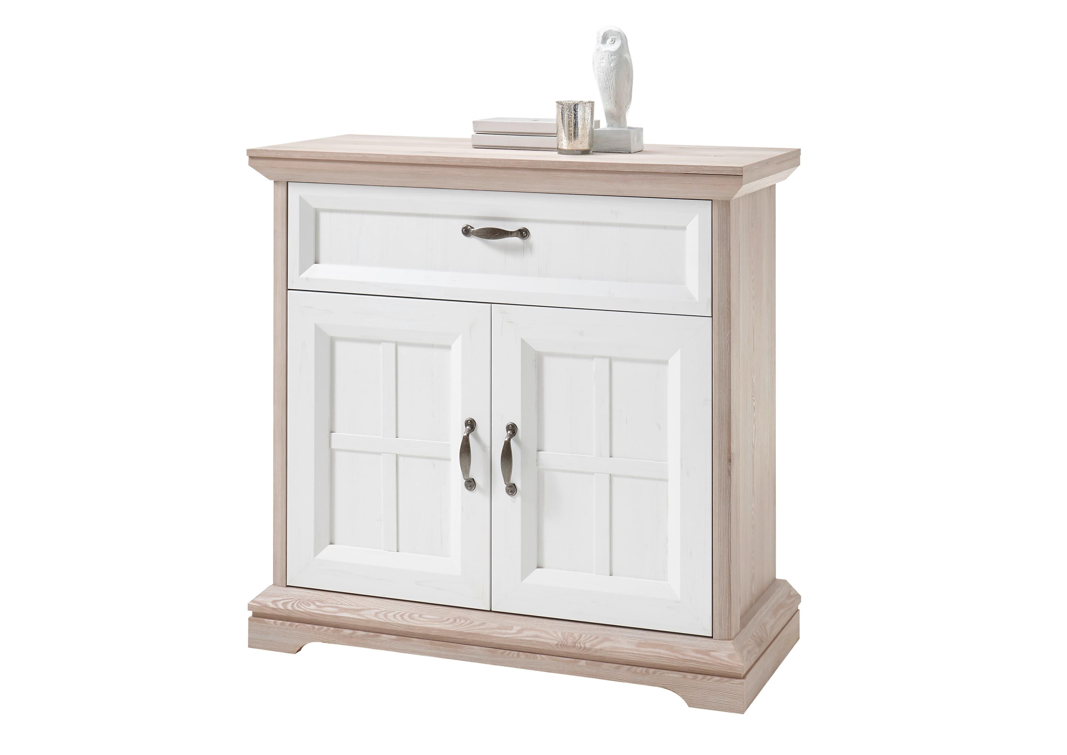Cabinet hol din pal, cu 2 usi si 1 sertar, Ava Alb / Stejar, l100xA43xH99 cm imagine