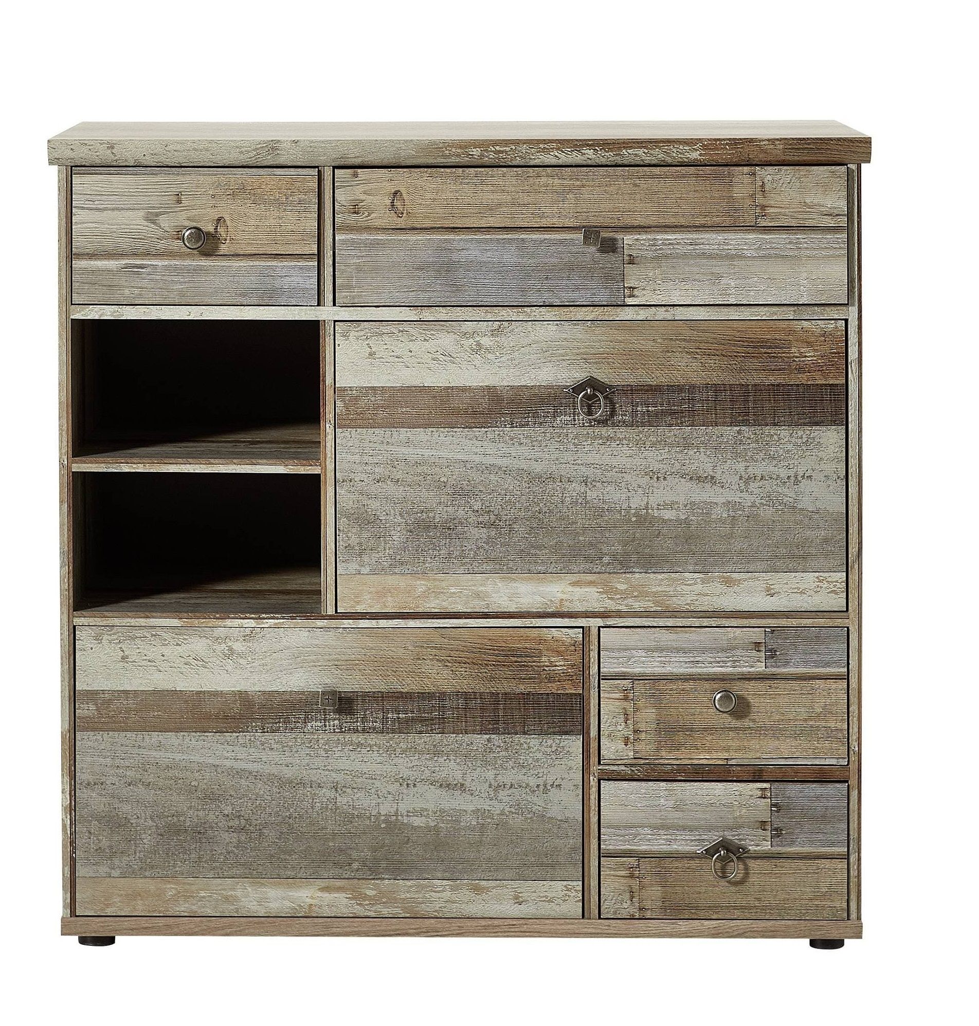 Cabinet hol din pal, cu 2 usi si 4 sertare Bazna Small Natur / Gri inchis, l99xA40xH98 cm somproduct.ro