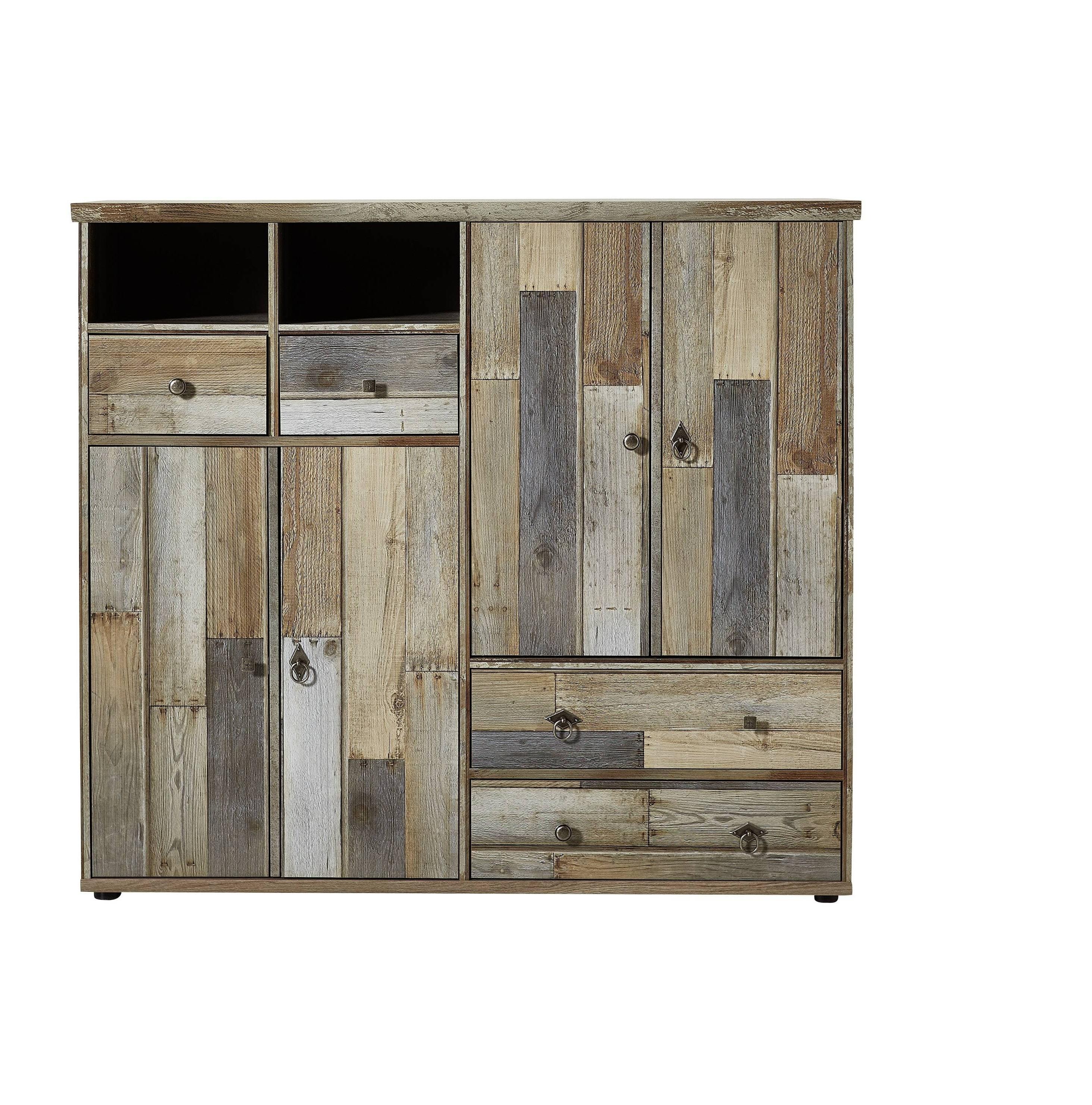 Cabinet hol din pal, cu 4 usi si 4 sertare Bazna Large Natur / Gri inchis, l130xA40xH117 cm somproduct.ro