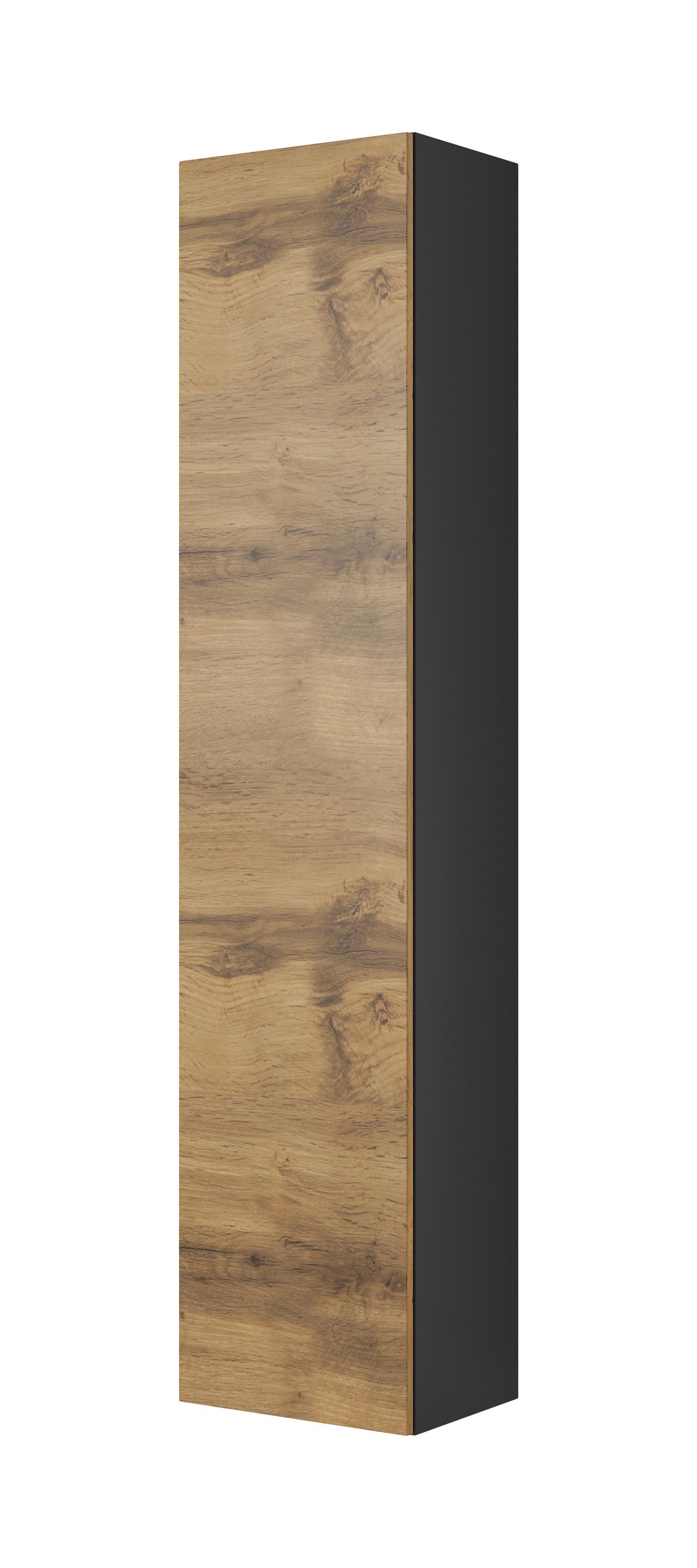 Cabinet suspendat din pal si MDF, cu 1 usa Livo S-180 Wotan Oak / Anthracite, l40xA30xH180 cm somproduct.ro