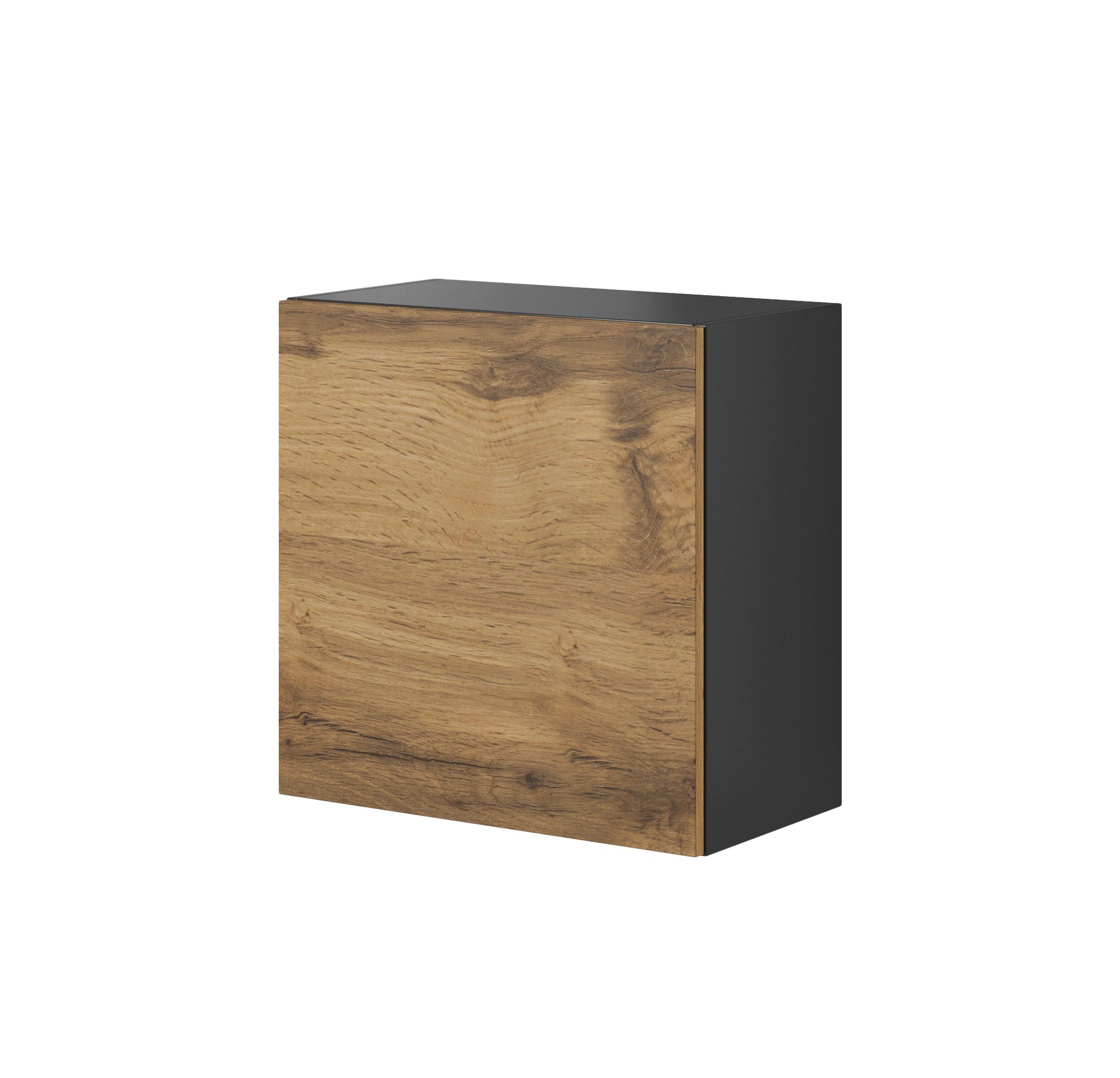 Cabinet suspendat din pal si MDF, cu 1 usa Livo W-55 Wotan Oak / Anthracite, l55xA30xH55 cm somproduct.ro