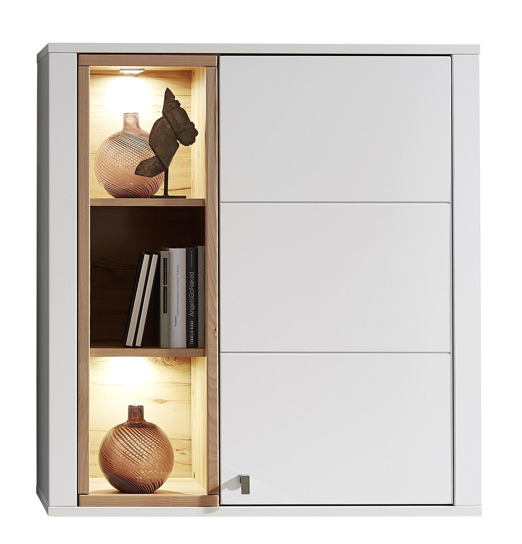 Cabinet suspendat din pal si MDF cu 1 usa, Selina Alb / Natur, l92xA41xH101 cm