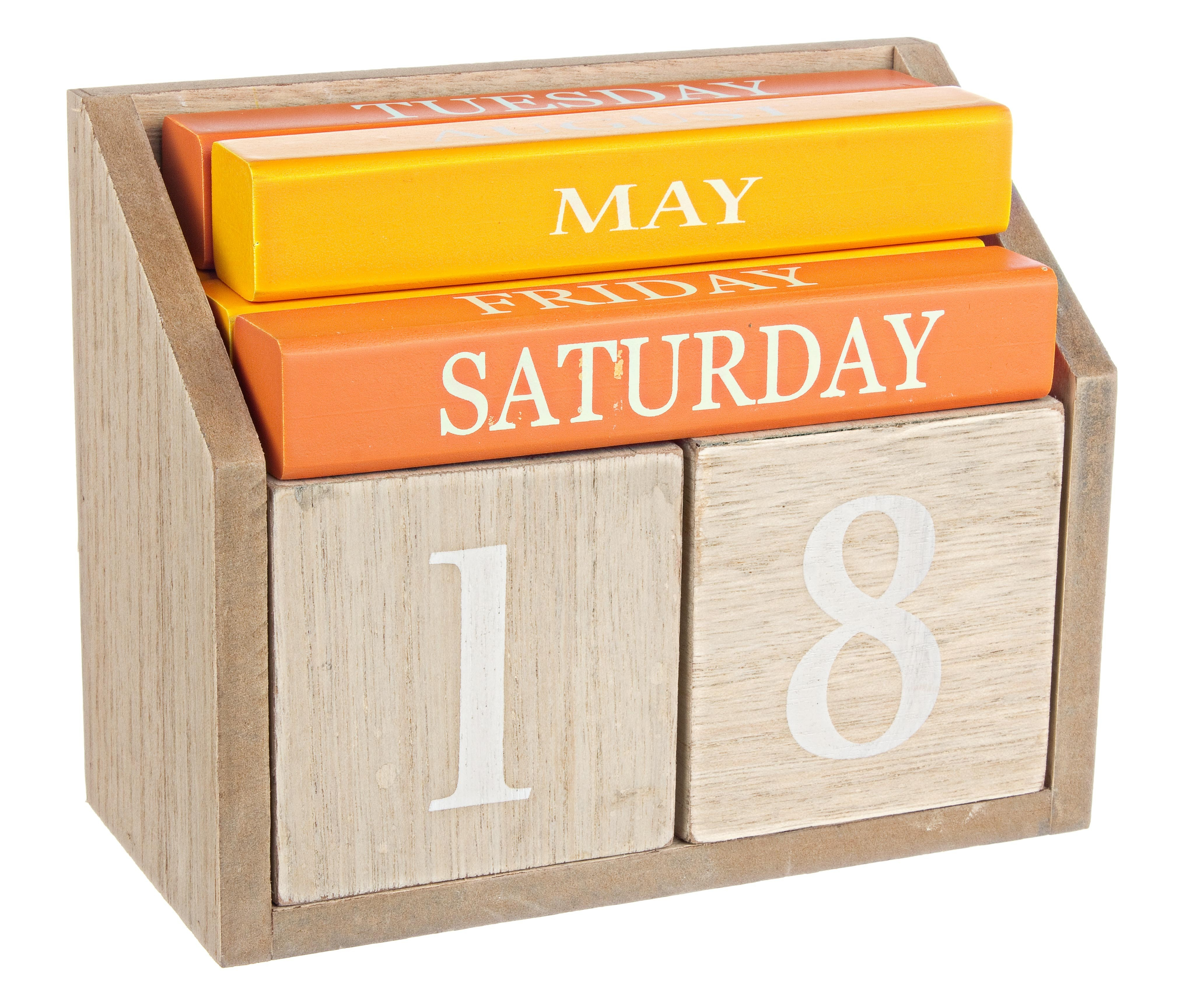 Calendar de birou din MDF, Daily Multicolor, l18xA8xH14,5 cm