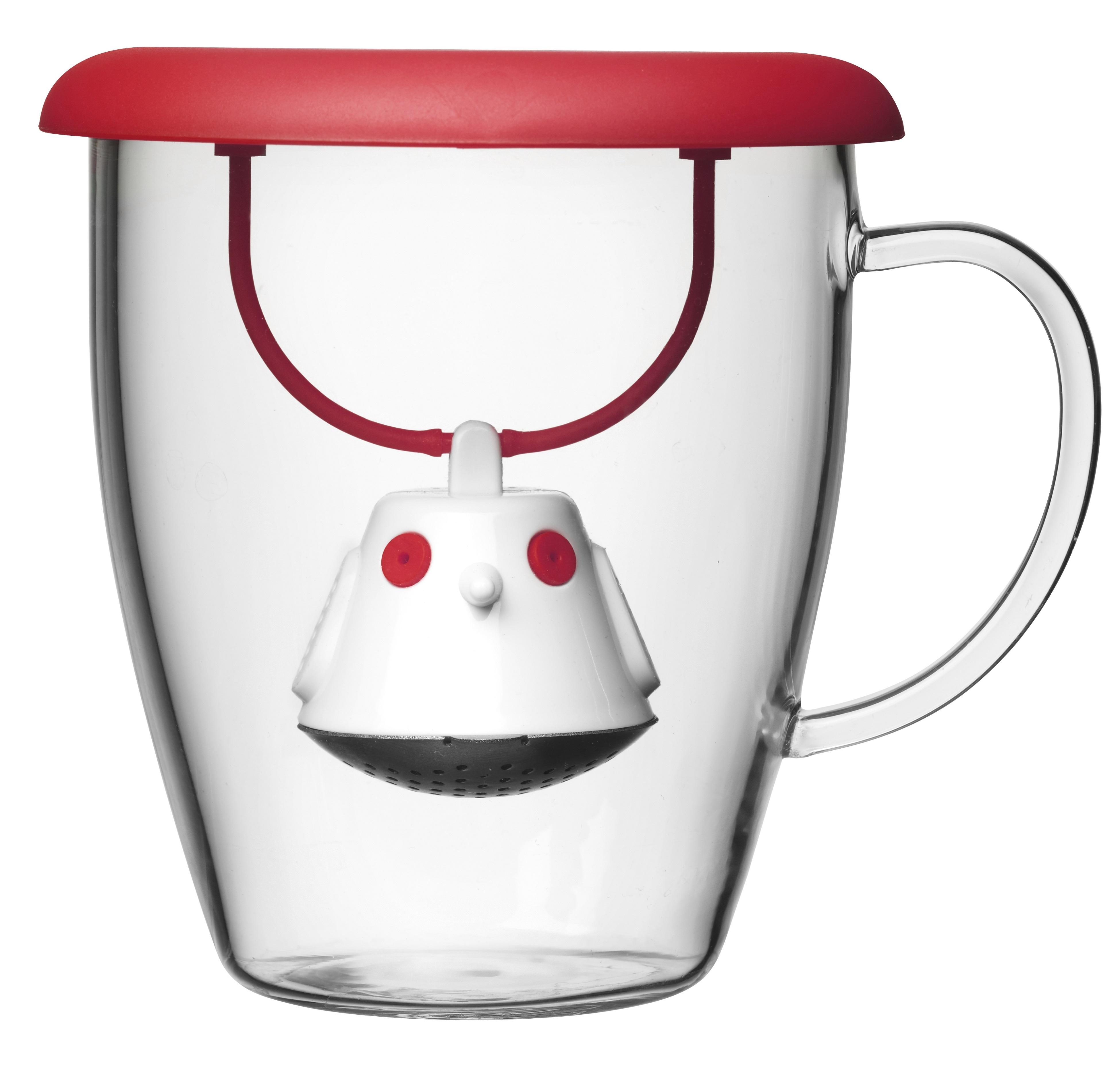 Cana Ceai Cu Infuzor Si Capac Birdie Red, Qdo, Ø 10,6 Cm