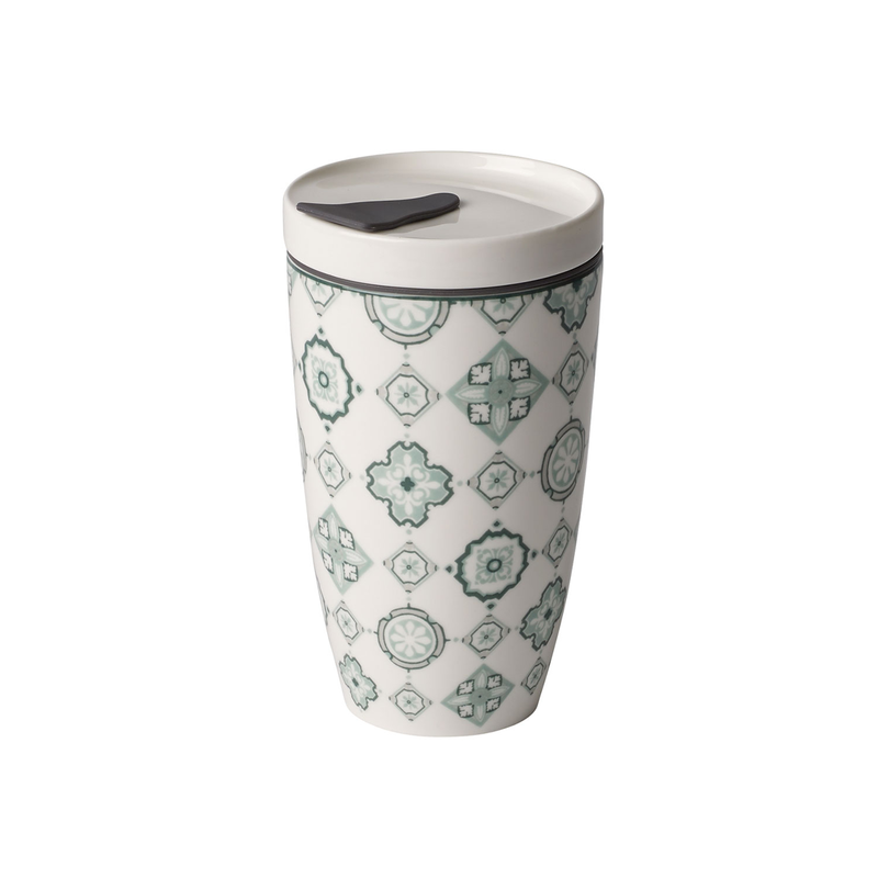 Cana cu capac din portelan, To Go Verde, 350 ml, Villeroy & Boch imagine