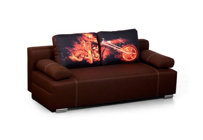 Canapea extensibila tapitata cu stofa 3 locuri Fado Fire Motorcycle l190xA90xH70 cm