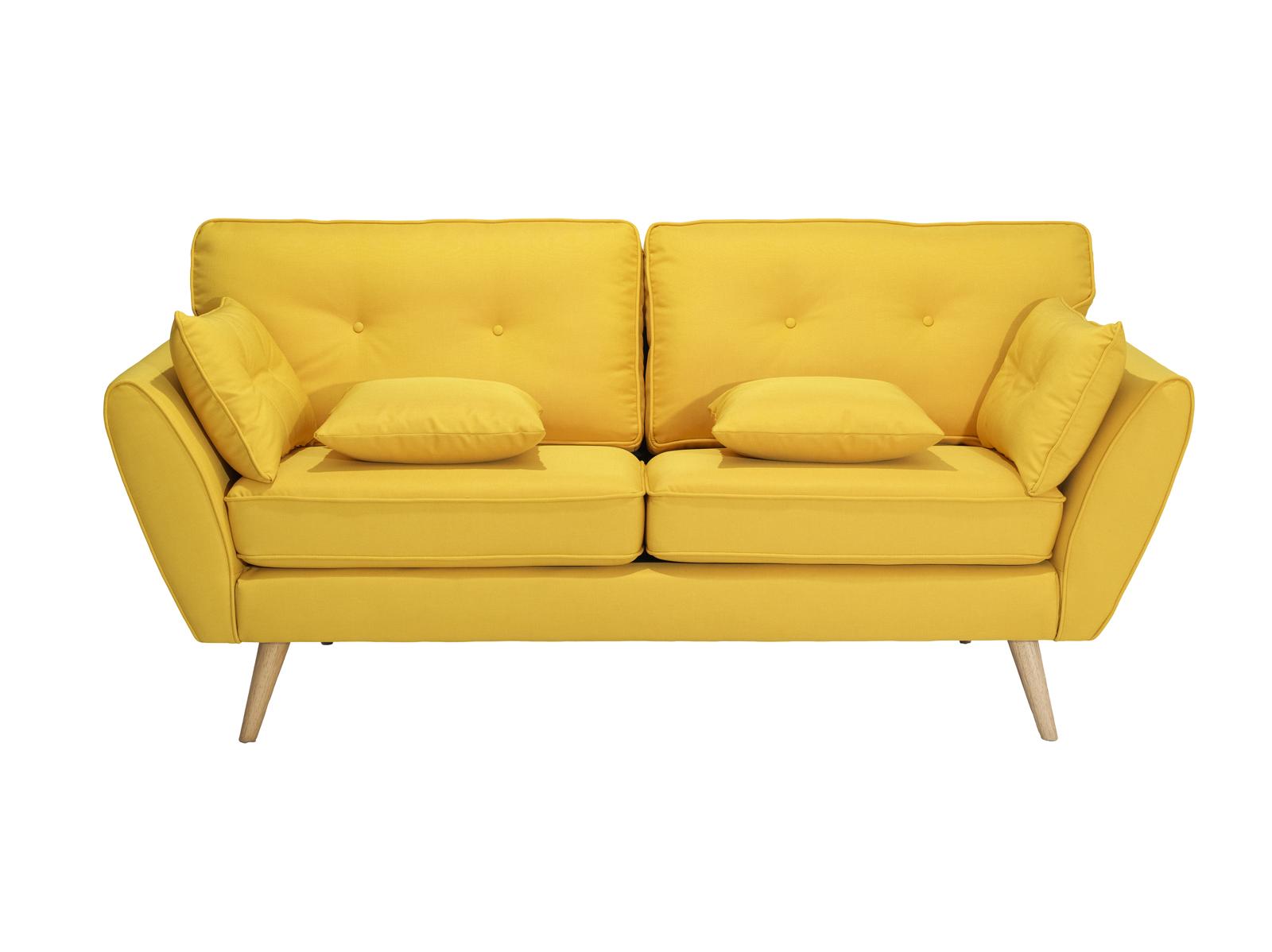 Canapea fixa tapitata cu stofa Volex Yellow