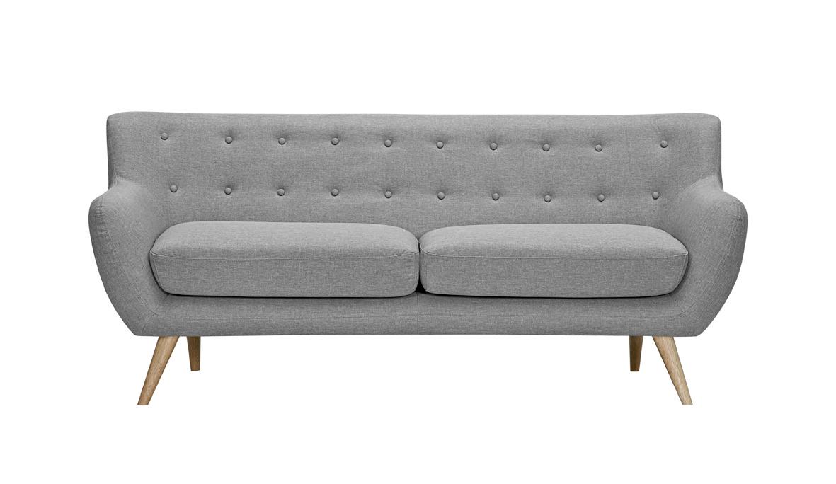 Canapea fixa tapitata cu stofa, 3 locuri Alice Grey, l188xA82xH82 cm