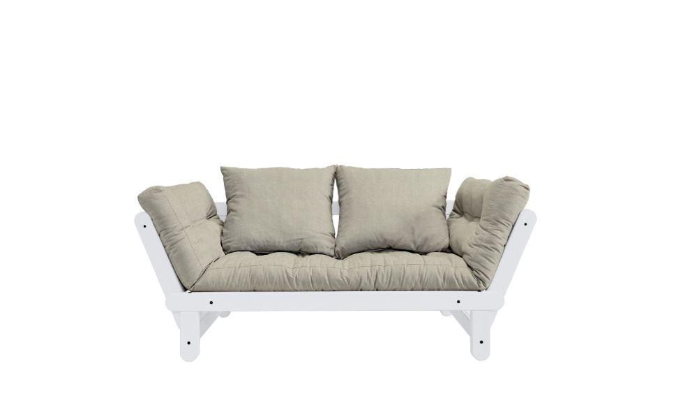 Canapea Extensibila 2 locuri stofa si cadru lemn de pin Beat White Linen l162xA80xH75 cm