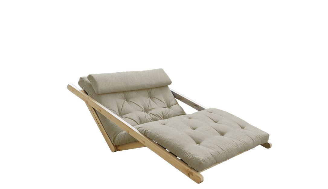 Canapea Extensibila 2 locuri stofa si cadru lemn de pin Figo Natural Linen l130xA185xH82 cm