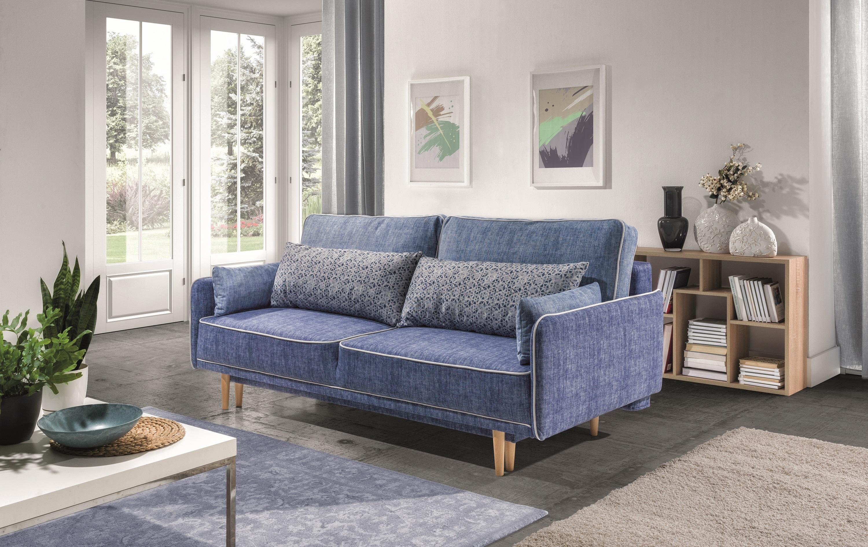 Canapea extensibila 2 locuri, tapitata cu stofa, Sinio Bleumarin, l210xA100xH94 cm