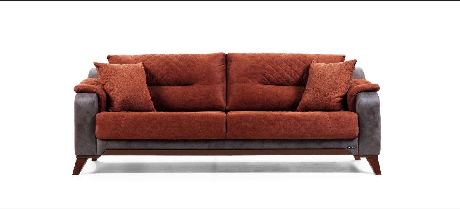 Canapea fixa tapitata 3 locuri Flamenko Caramiziu K2 l218xA96xH84 cm