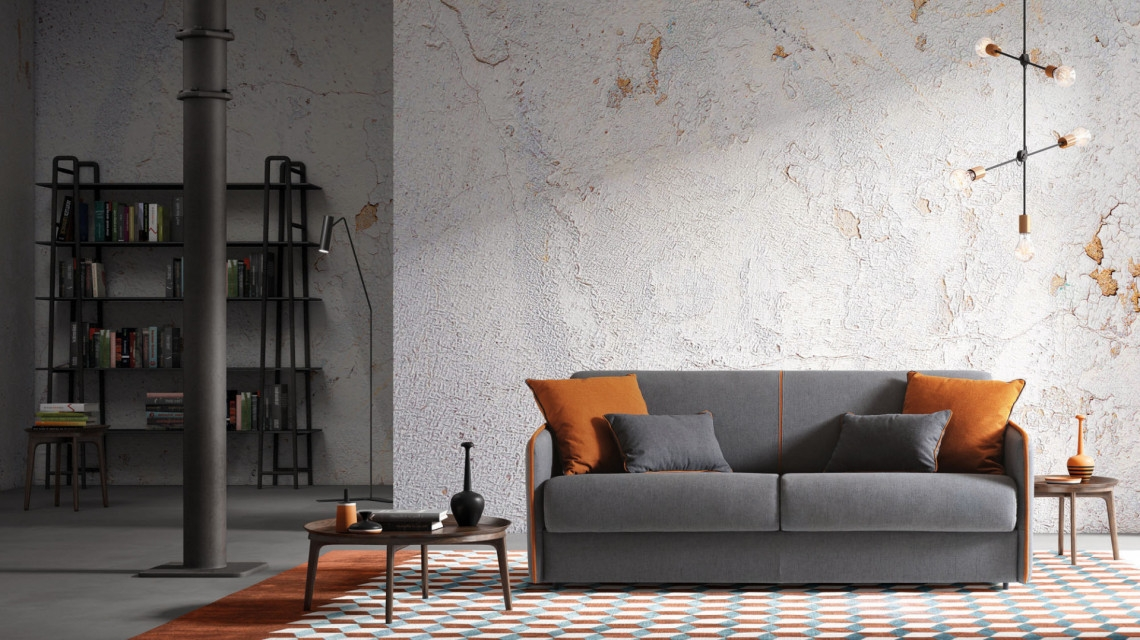 Canapea extensibila, 3 locuri tapitata cu stofa, Madeira Gri, l198xA99xH82 cm