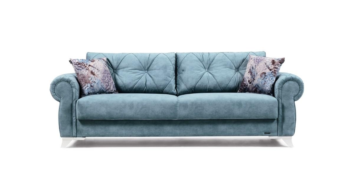 Canapea extensibila cu lada de depozitare, tapitata cu stofa 3 locuri Mito Turcoaz K2, l242xA96xH85 cm