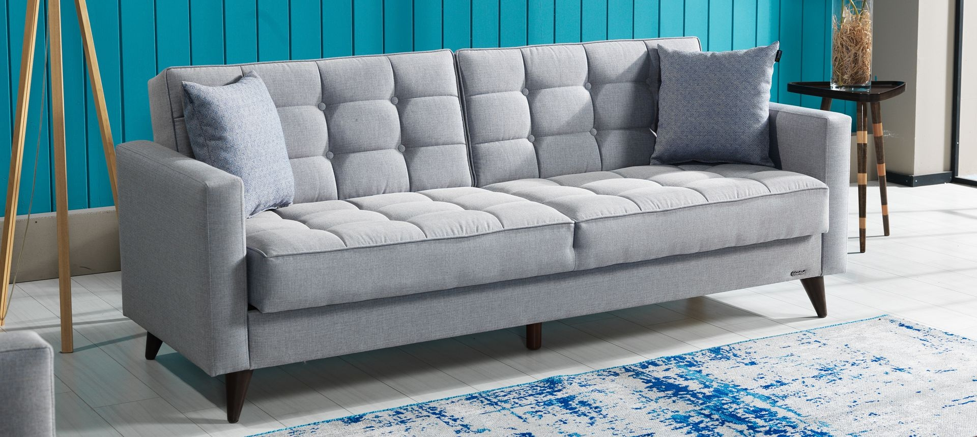 Canapea extensibila cu lada de depozitare, tapitata cu stofa 3 locuri Orlando Gri K1, l214xA84xH86 cm
