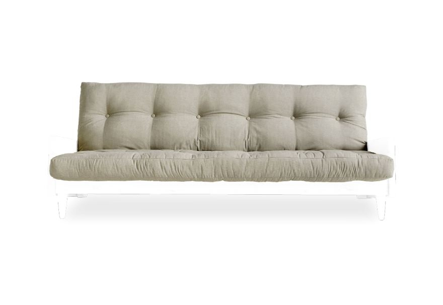Canapea Extensibila 3 locuri stofa si cadru lemn de pin Indie White Linen l200xA100xH78 cm