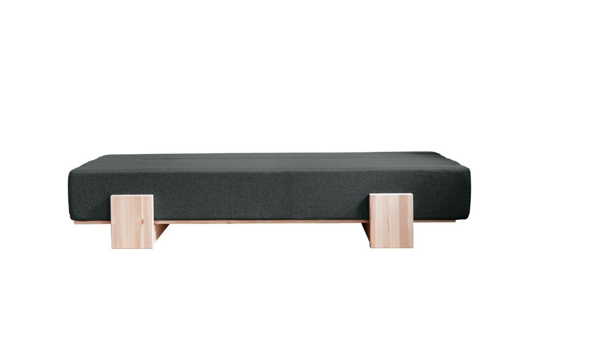 Canapea Extensibila 3 locuri stofa si cadru lemn de pin Umu Dark Grey l200xA66xH40 cm