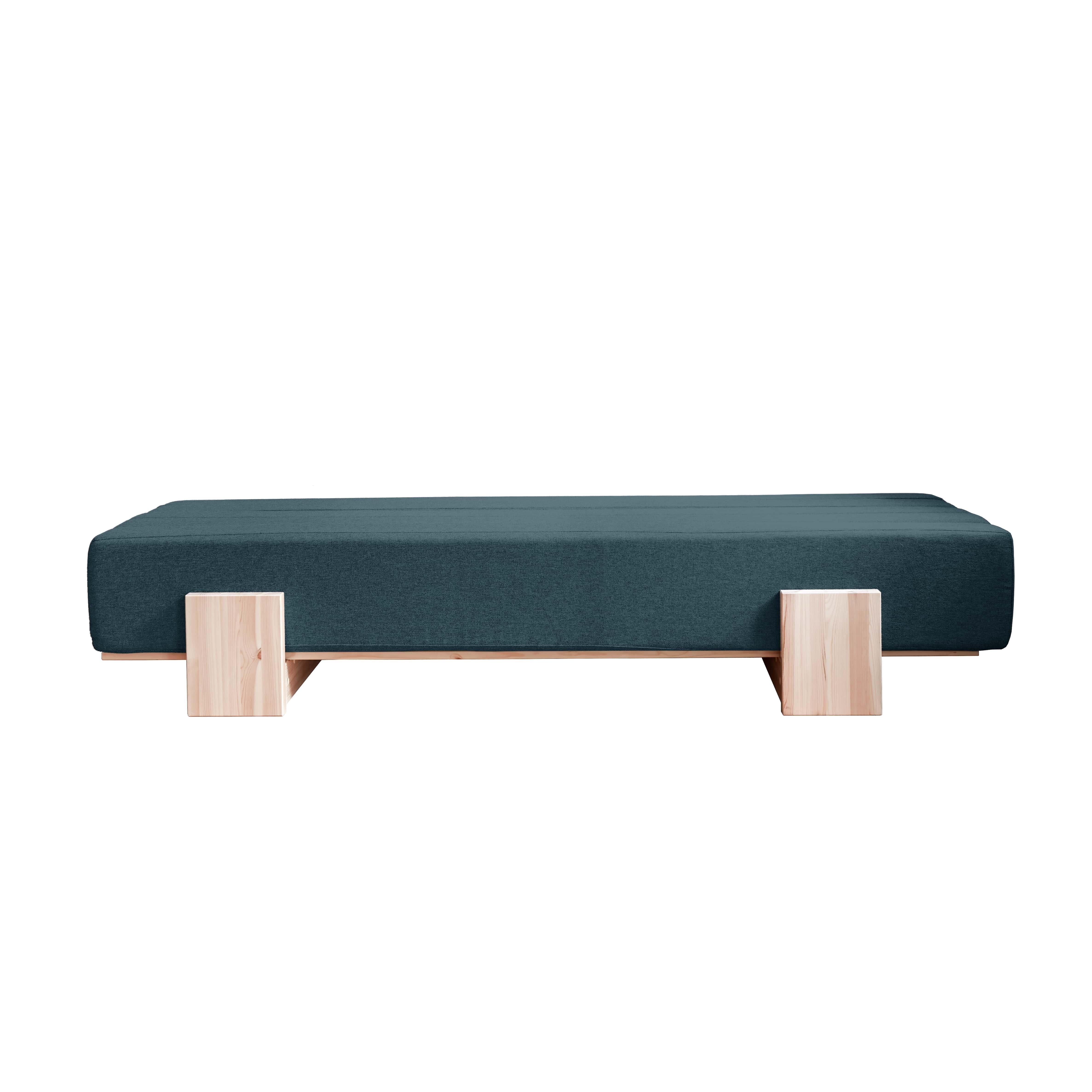 Canapea Extensibila 3 locuri stofa si cadru lemn de pin Umu Deep Blue l200xA66xH40 cm