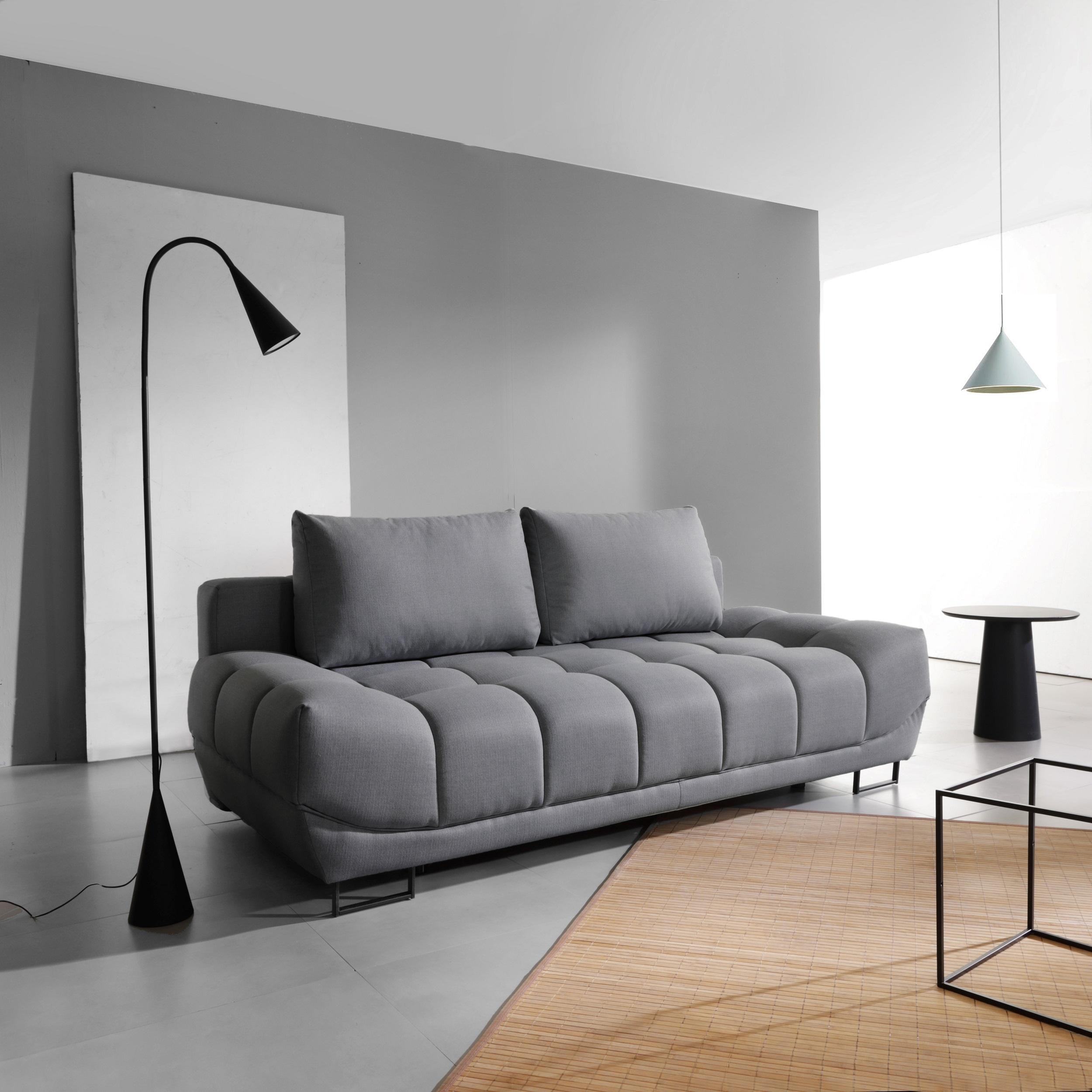 Canapea extensibila cu lada de depozitare, 3 locuri Venice Grey, l218xA112xH71 cm