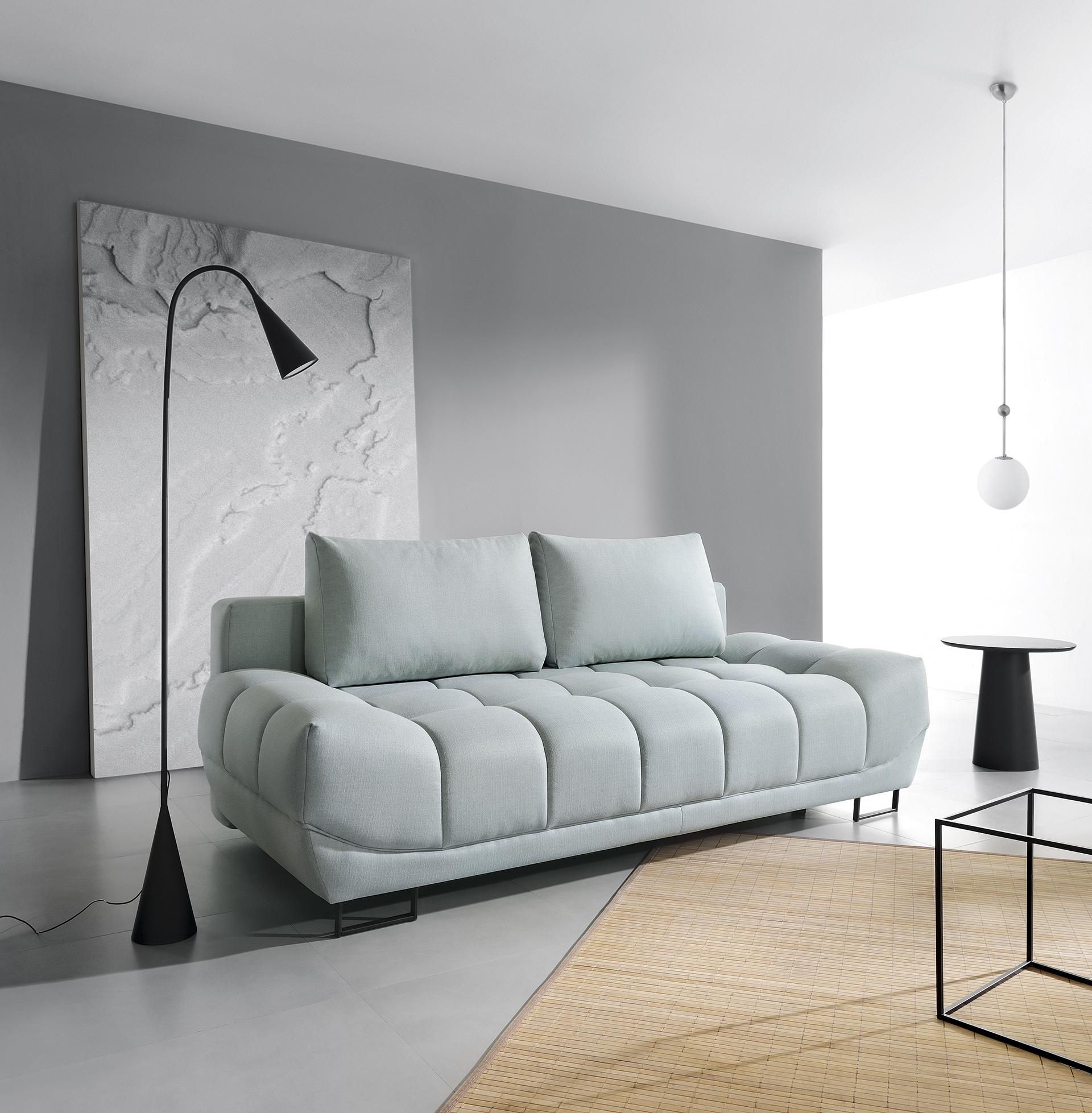 Canapea extensibila cu lada de depozitare, 3 locuri Venice Light Green, l218xA112xH71 cm