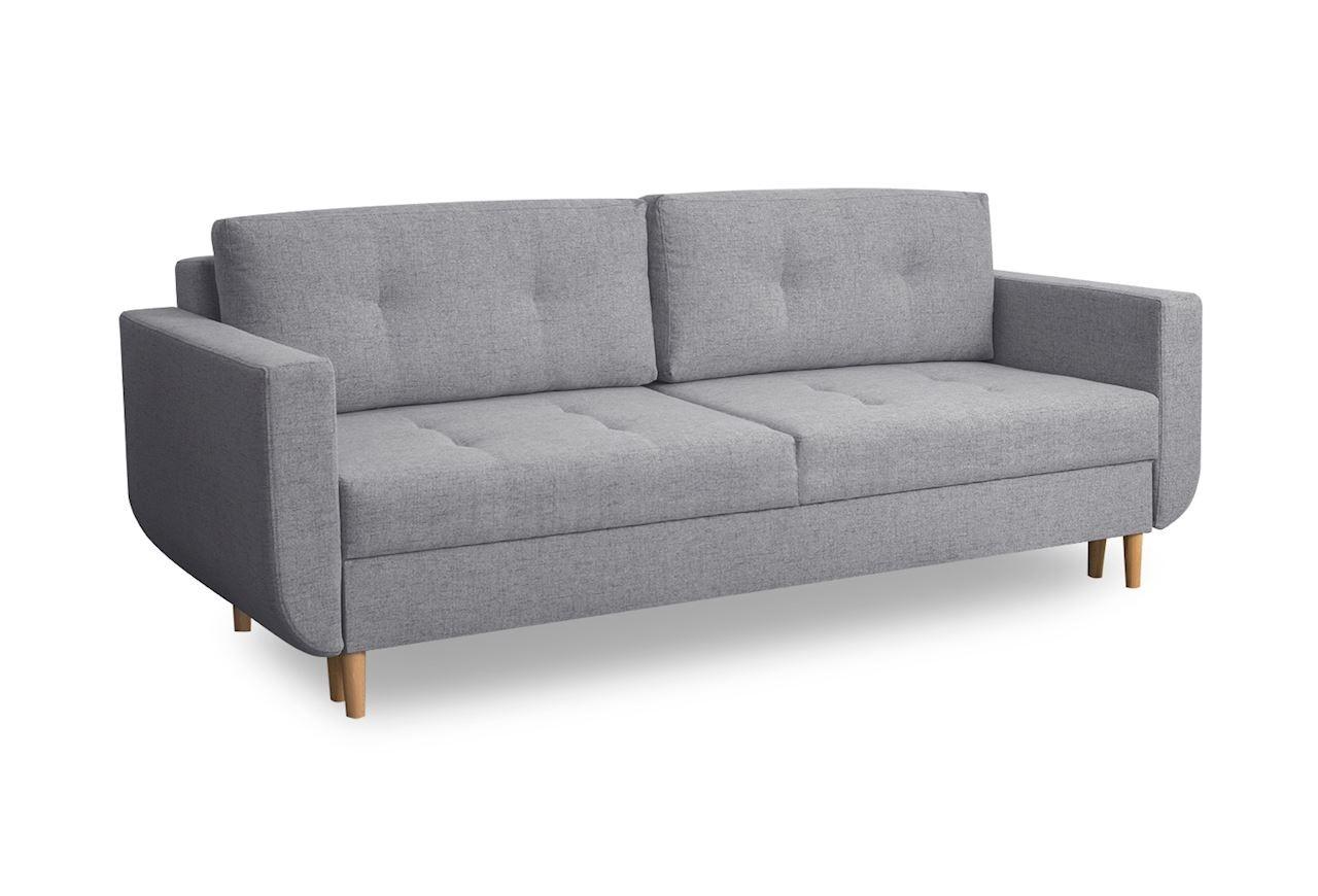 Canapea extensibila cu lada de depozitare, tapitata cu stofa, 3 locuri Alva Gri deschis, l220xA96xH88 cm