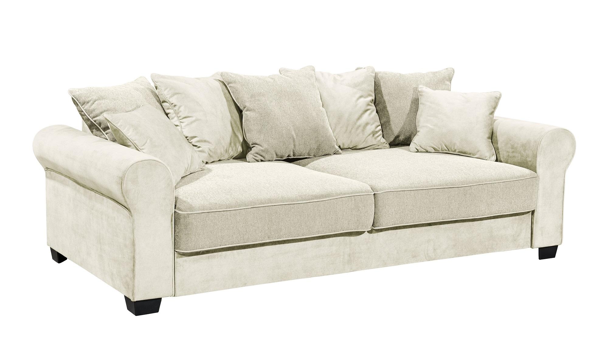 Canapea extensibila cu lada de depozitare, tapitata cu stofa, 3 locuri, Aurelis Crem, l247xA115xH95 cm poza