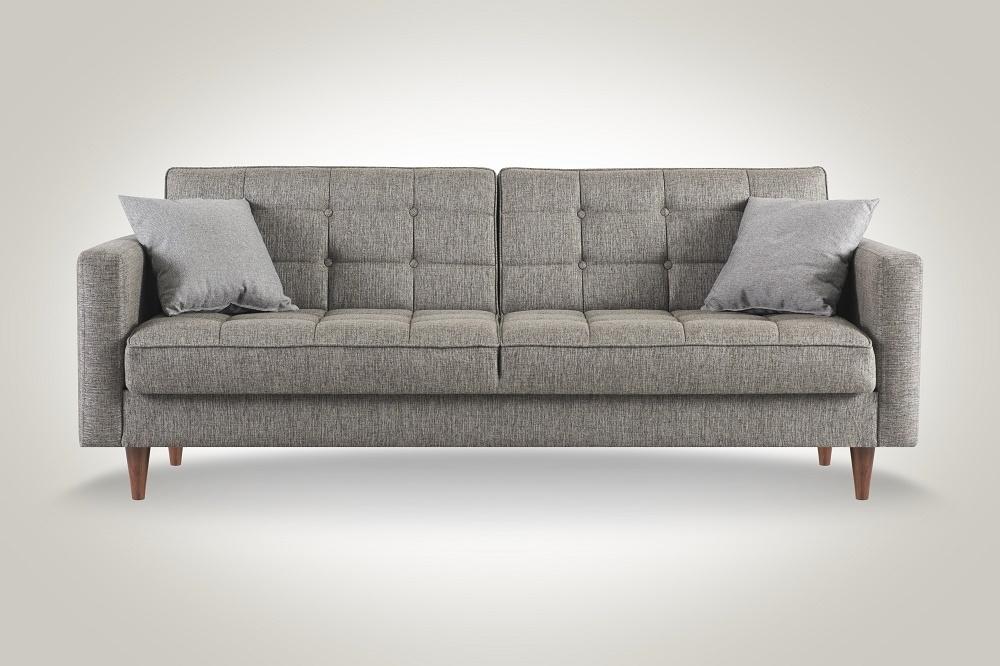Canapea extensibila cu lada de depozitare, tapitata cu stofa 3 locuri Dallas Gri K1, l214xA84xH86 cm