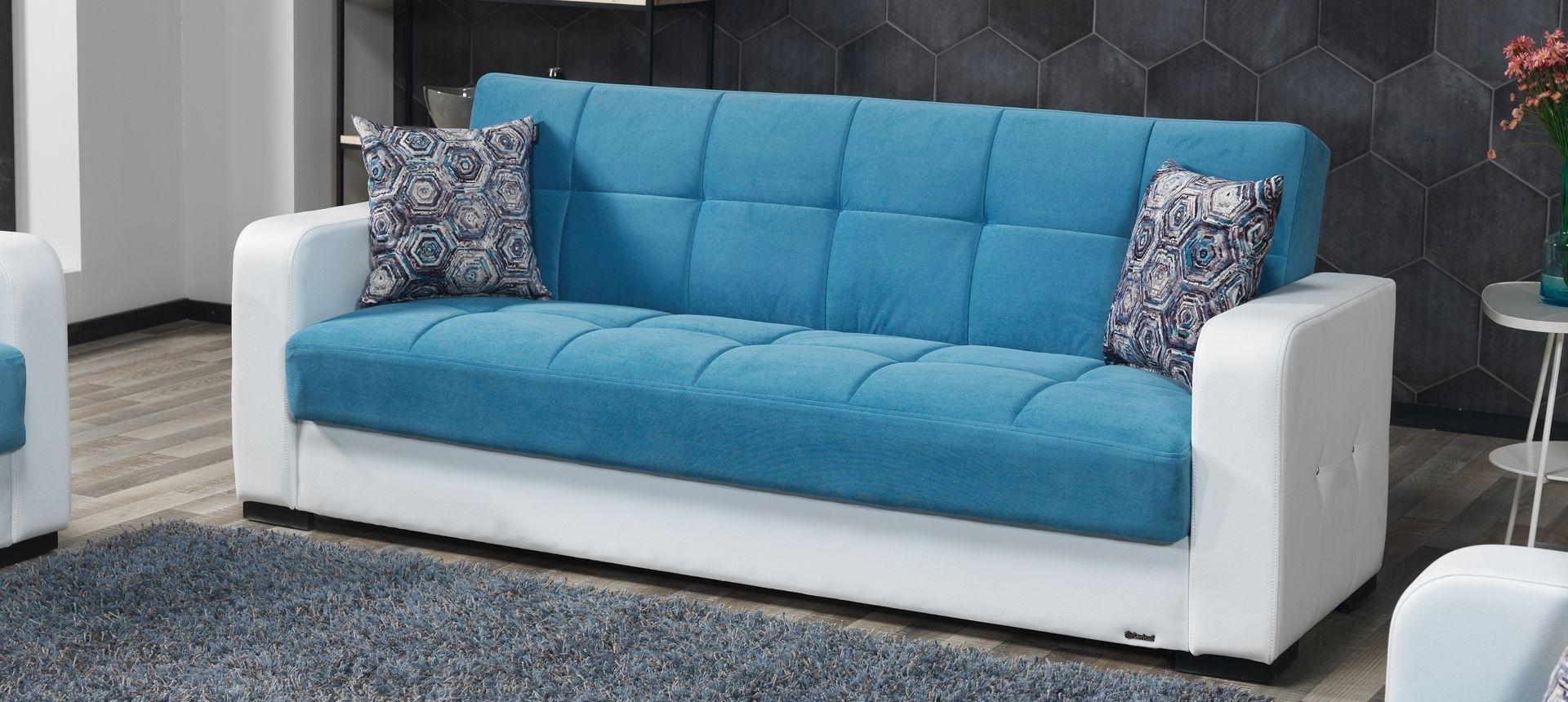 Canapea extensibila cu lada de depozitare, tapitata cu stofa 3 locuri Destina Albastru / Alb K1, l222xA72xH83 cm