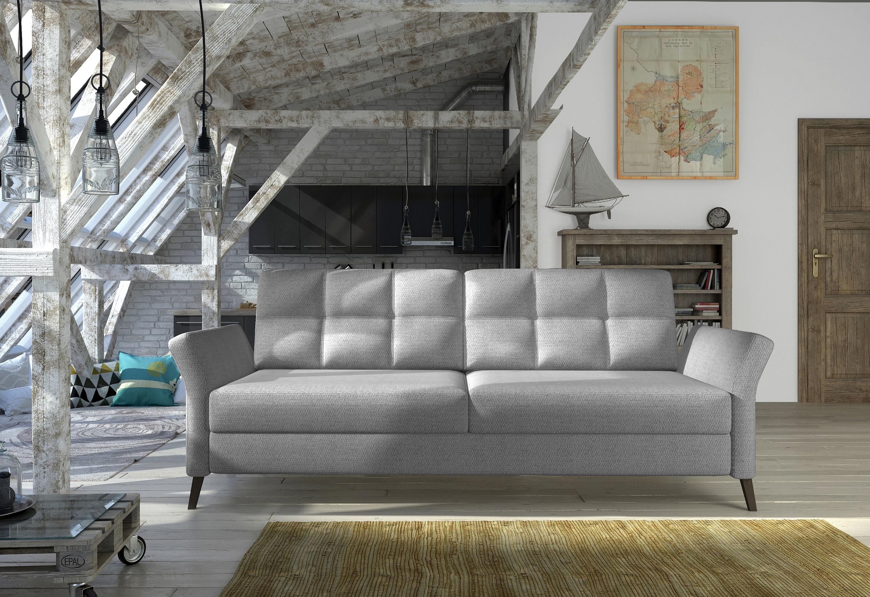 Canapea extensibila cu lada de depozitare, tapitata cu stofa 3 locuri Fuego Gri, l236xA99xH89 cm