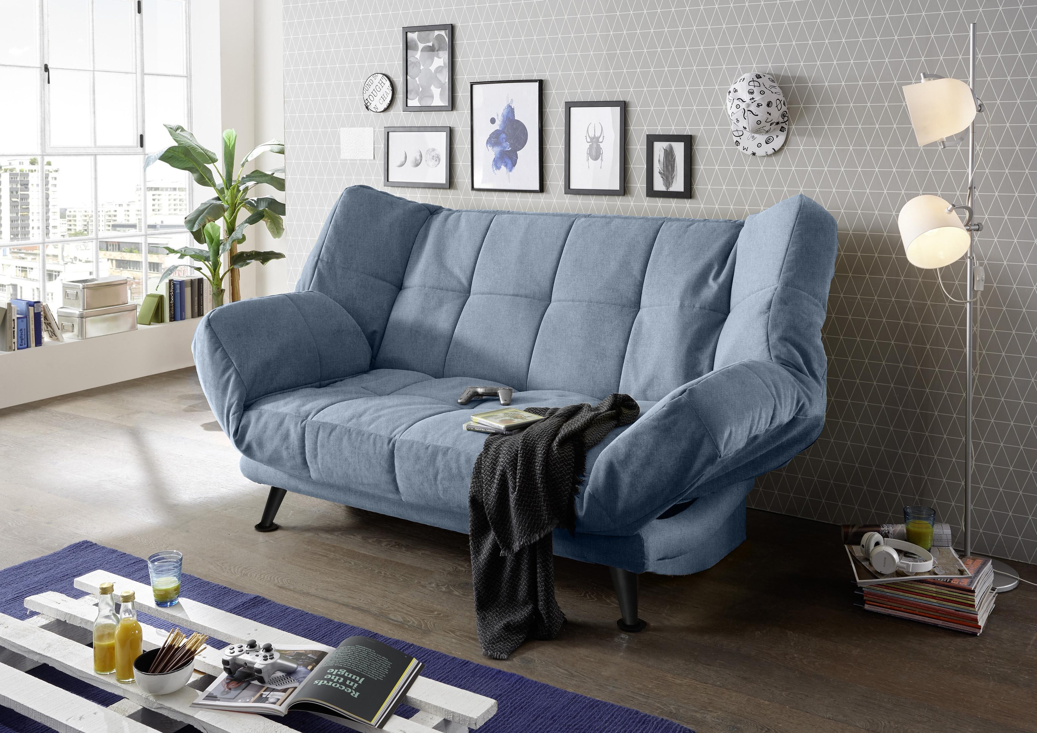 Canapea extensibila cu lada de depozitare, tapitata cu stofa, 3 locuri Ikaris 2 Albastru, l208xA98xH102 cm somproduct.ro