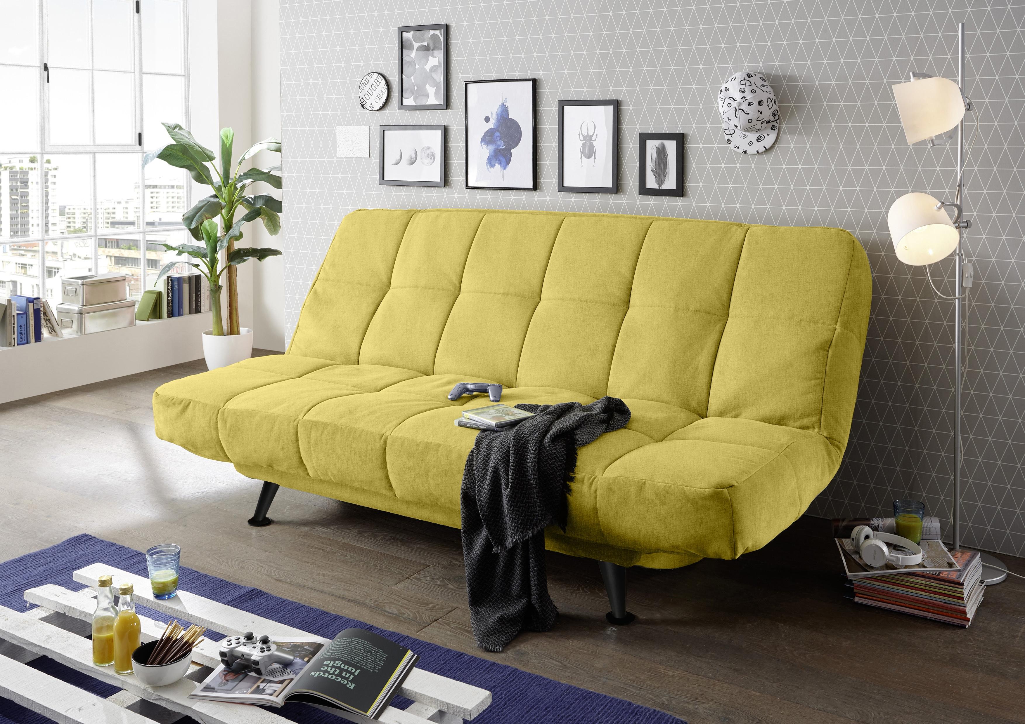 Canapea extensibila cu lada de depozitare, tapitata cu stofa, 3 locuri Ikaris 2 Mustariu, l208xA98xH102 cm poza