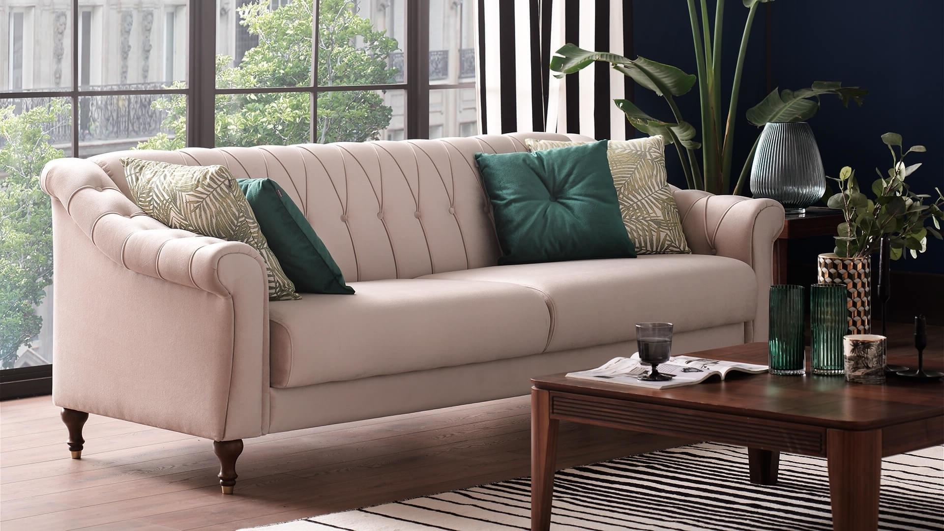 Canapea extensibila cu lada de depozitare, tapitata cu stofa, 3 locuri Laura Crem, l234xA95xH80 cm