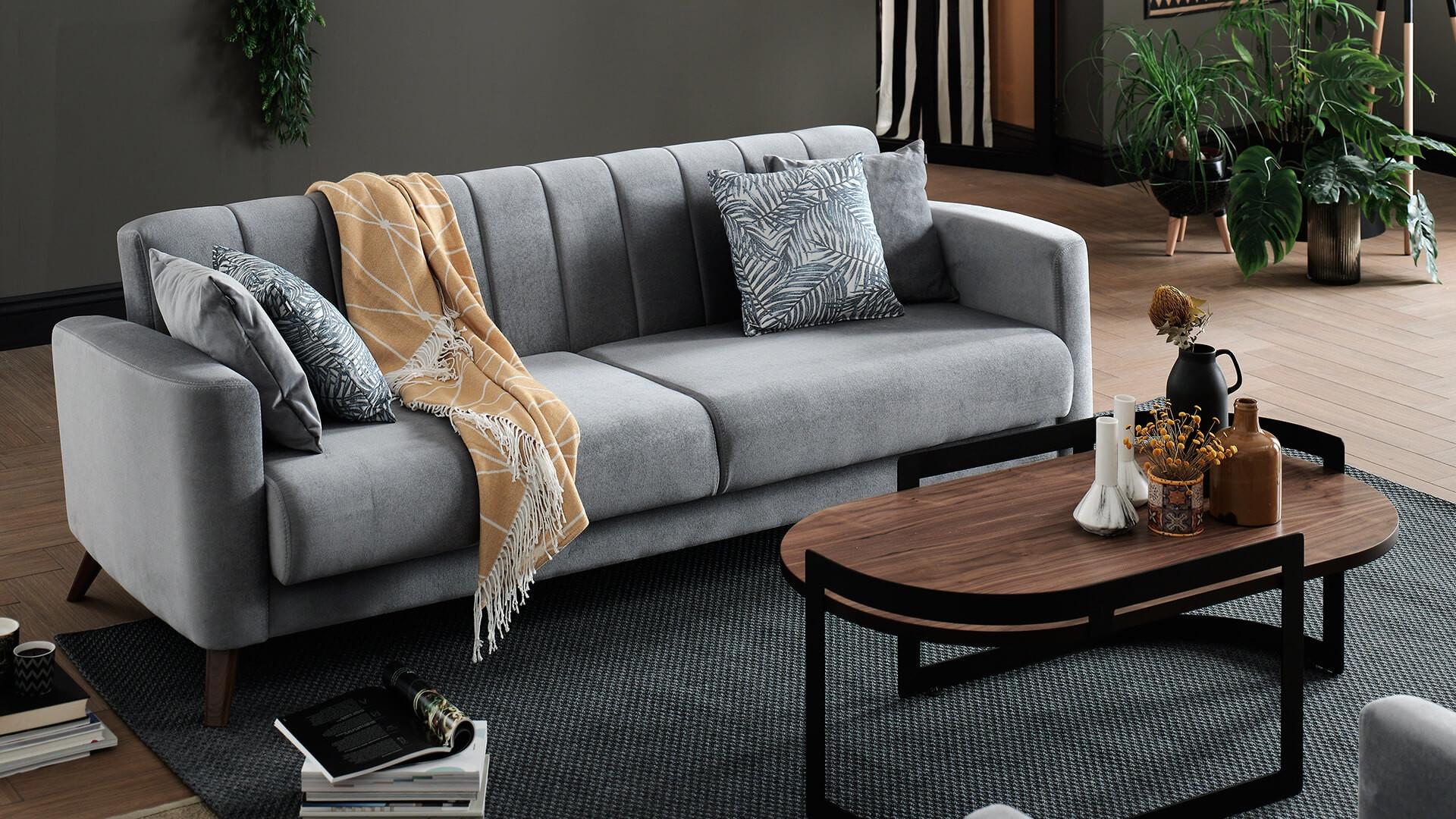 Canapea extensibila cu lada de depozitare, tapitata cu stofa, 3 locuri Loft Velvet Gri, l228xA88,5xH80 cm