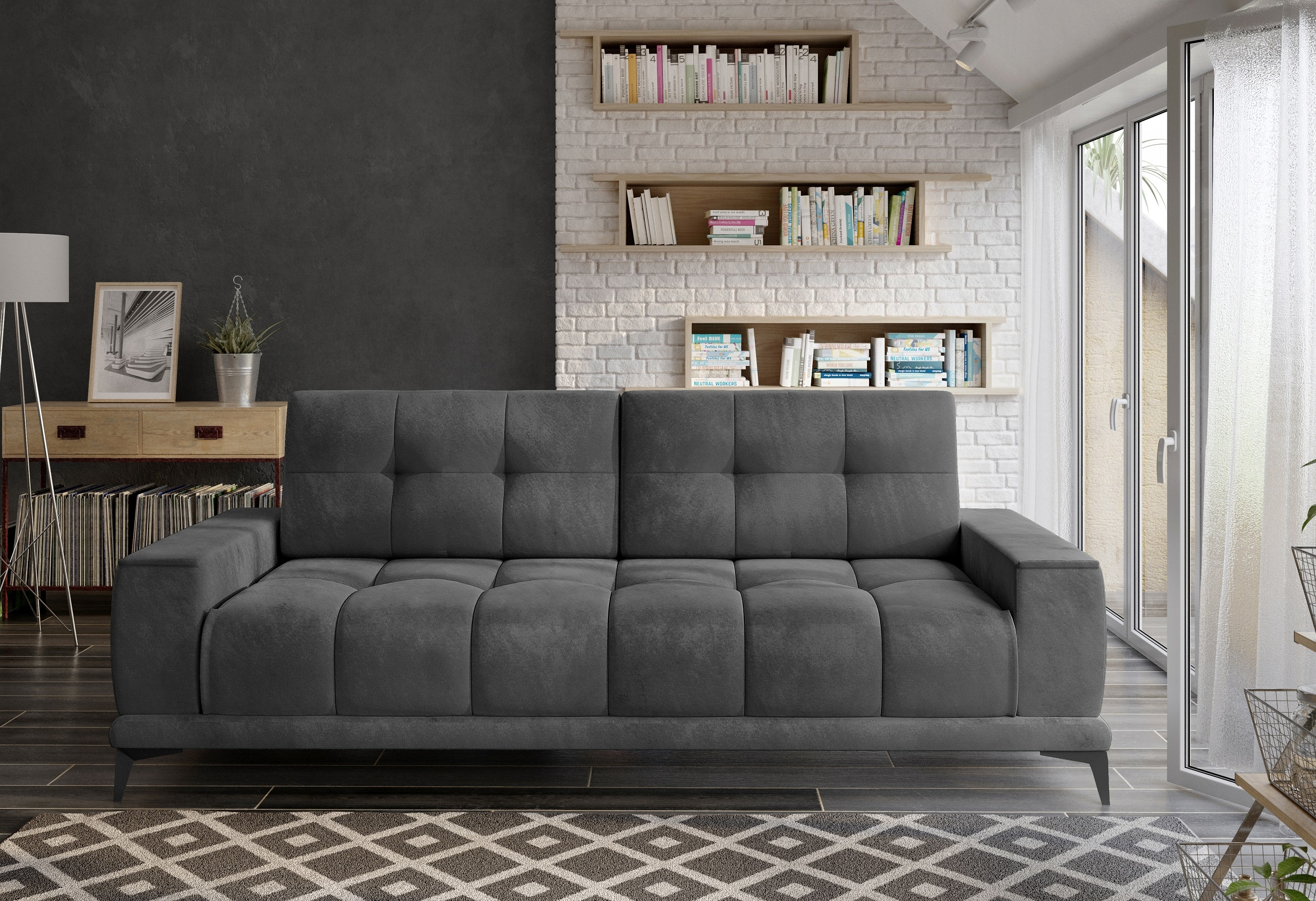 Canapea extensibila cu lada de depozitare, tapitata cu stofa 3 locuri Mamba Gri, l248xA104xH91 cm