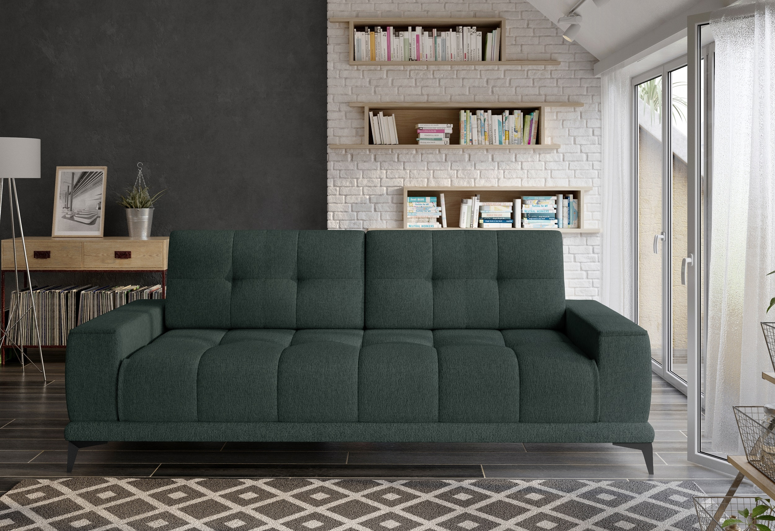 Canapea extensibila cu lada de depozitare, tapitata cu stofa 3 locuri Mamba Verde inchis, l248xA104xH91 cm