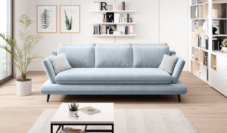 Canapea extensibila cu lada de depozitare, tapitata cu stofa 3 locuri Monte Bleu / Gri, l242xA110xH75 cm