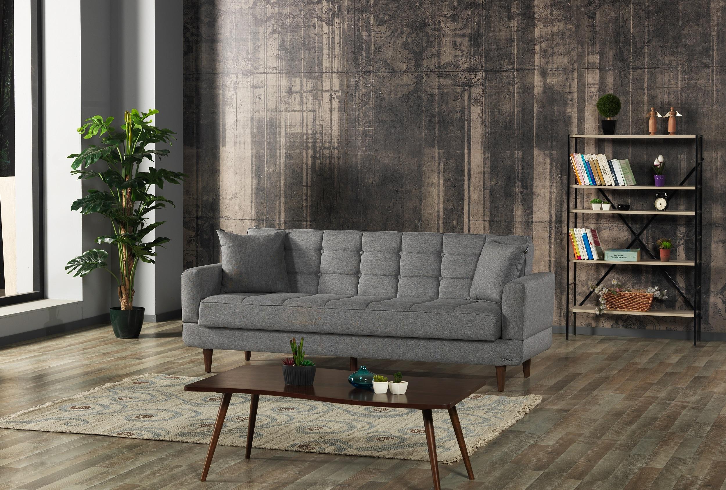 Canapea extensibila cu lada de depozitare, tapitata cu stofa 3 locuri New Jersey Gri, l220xA84xH86 cm
