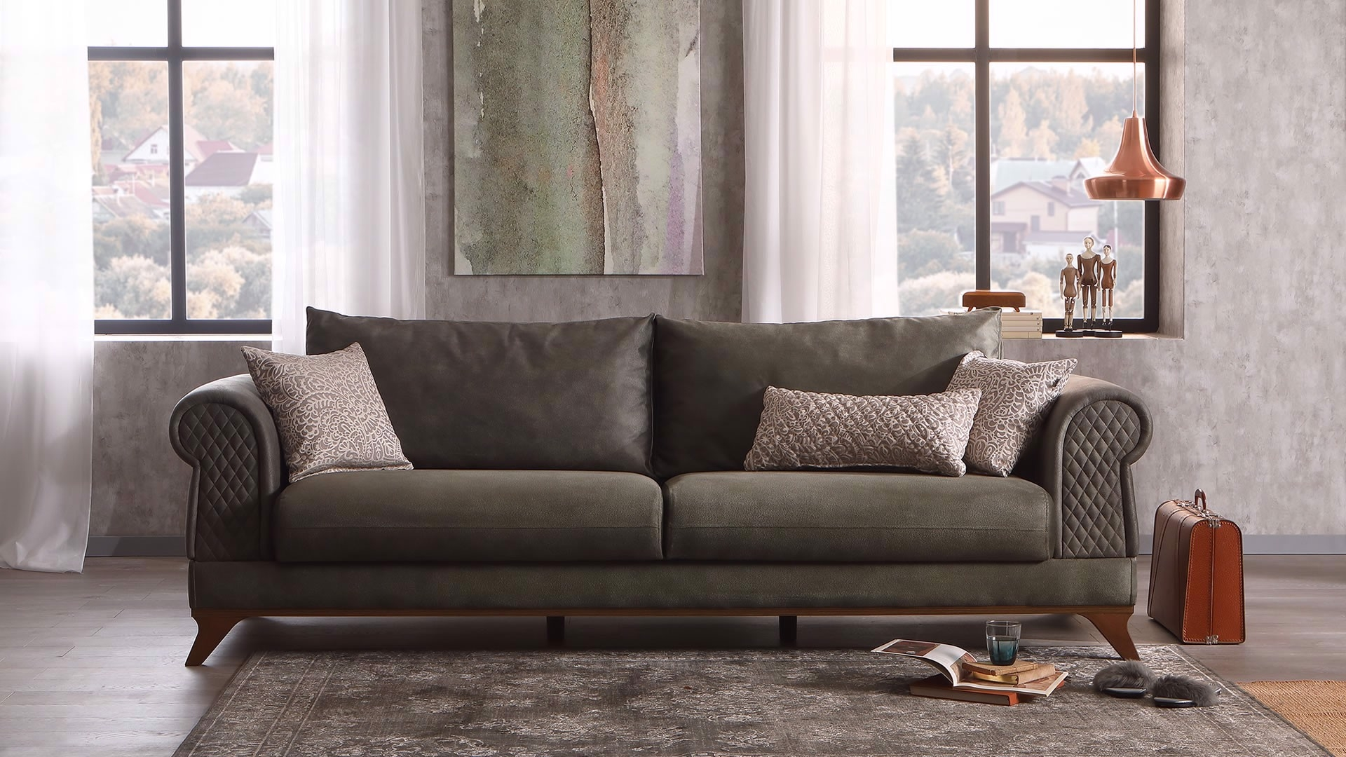 Canapea extensibila cu lada de depozitare, tapitata cu stofa, 3 locuri Raveno Verde Olive, l246xA100xH81 cm