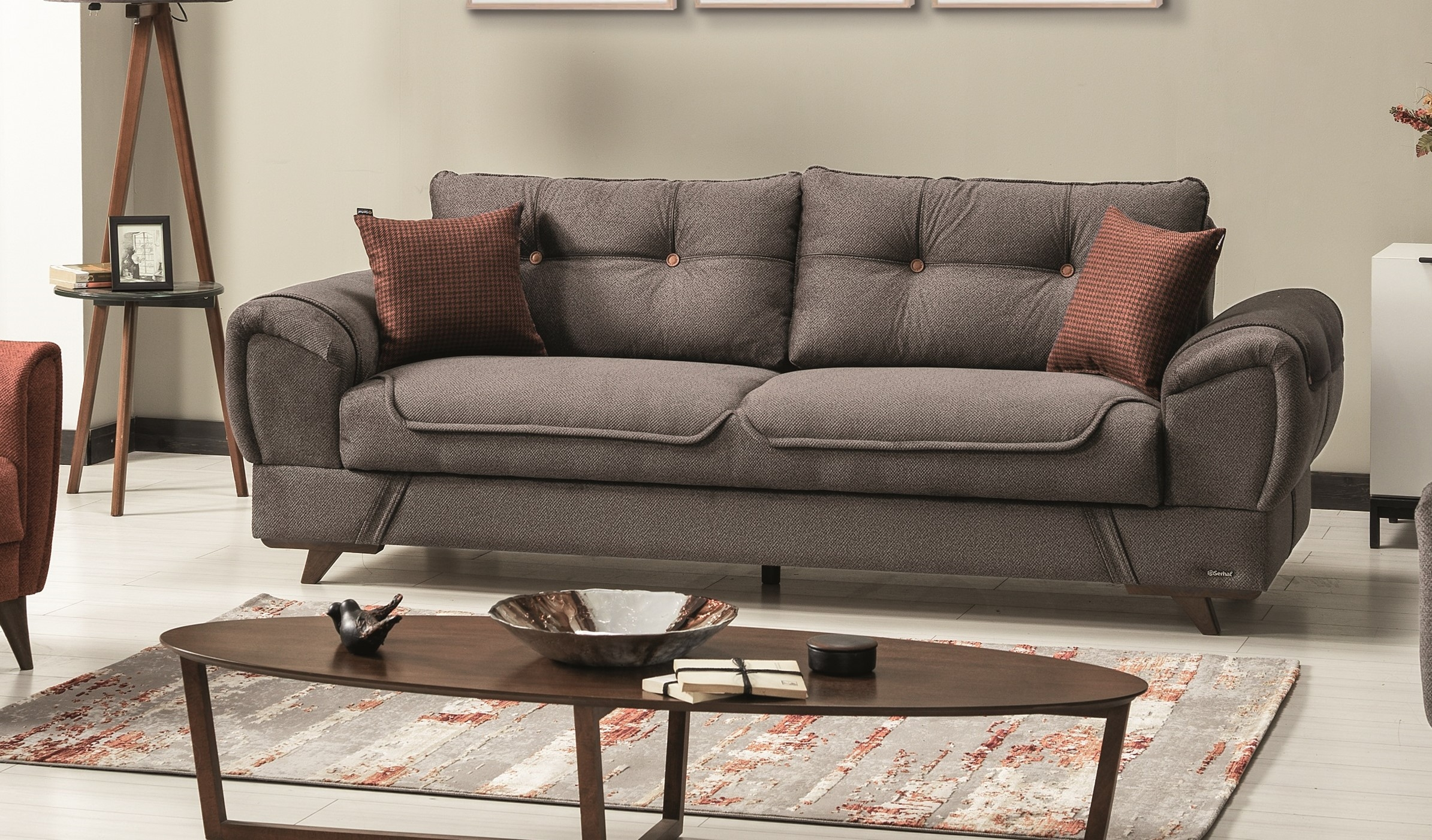 Canapea extensibila cu lada de depozitare, tapitata cu stofa si piele ecologica, 3 locuri Marla Gri K1, l254xA96xH85 cm somproduct.ro