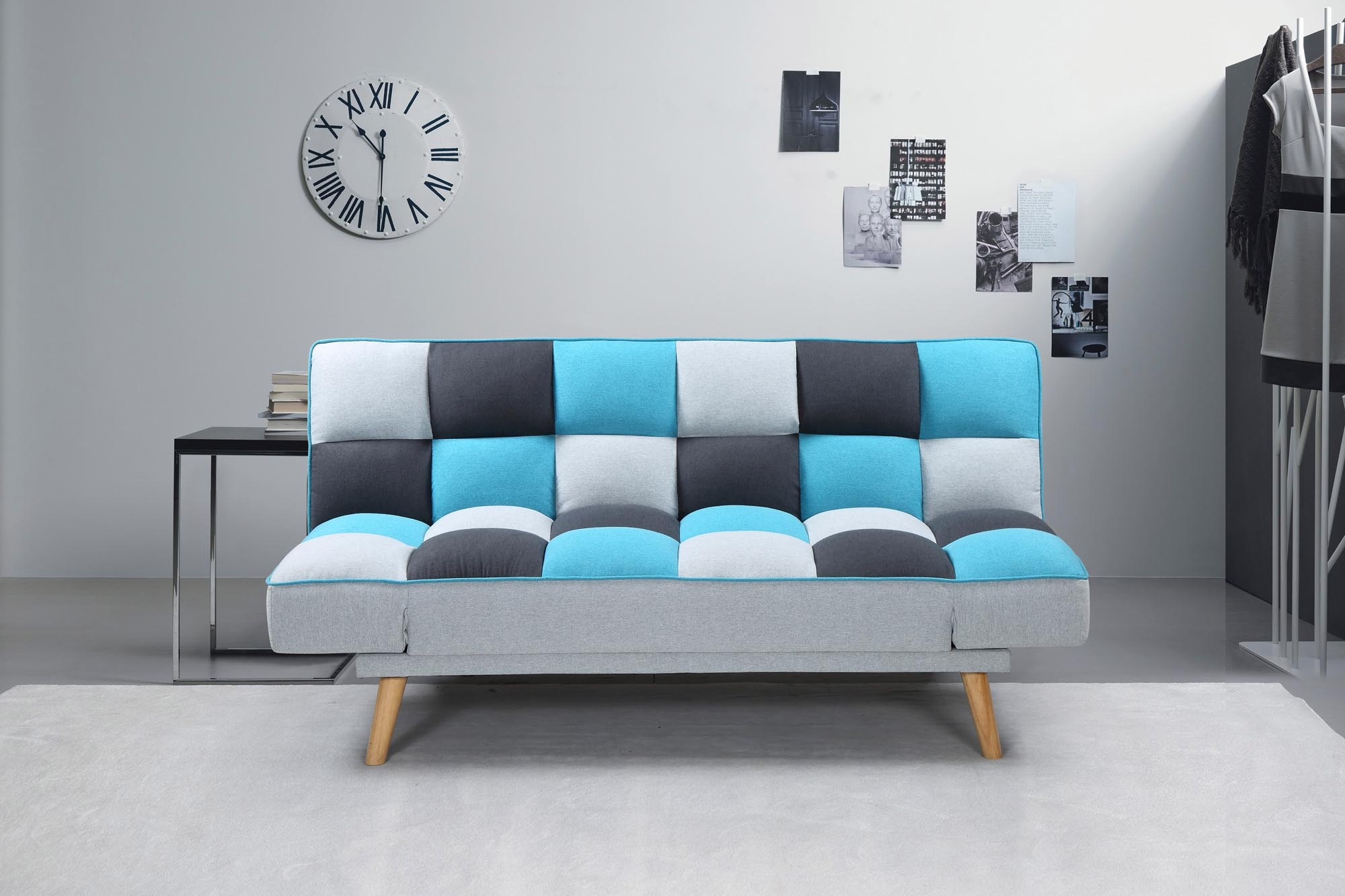 Canapea extensibila tapitata cu stofa, 2 locuri Bojan Multicolor, l179xA90xH87 cm