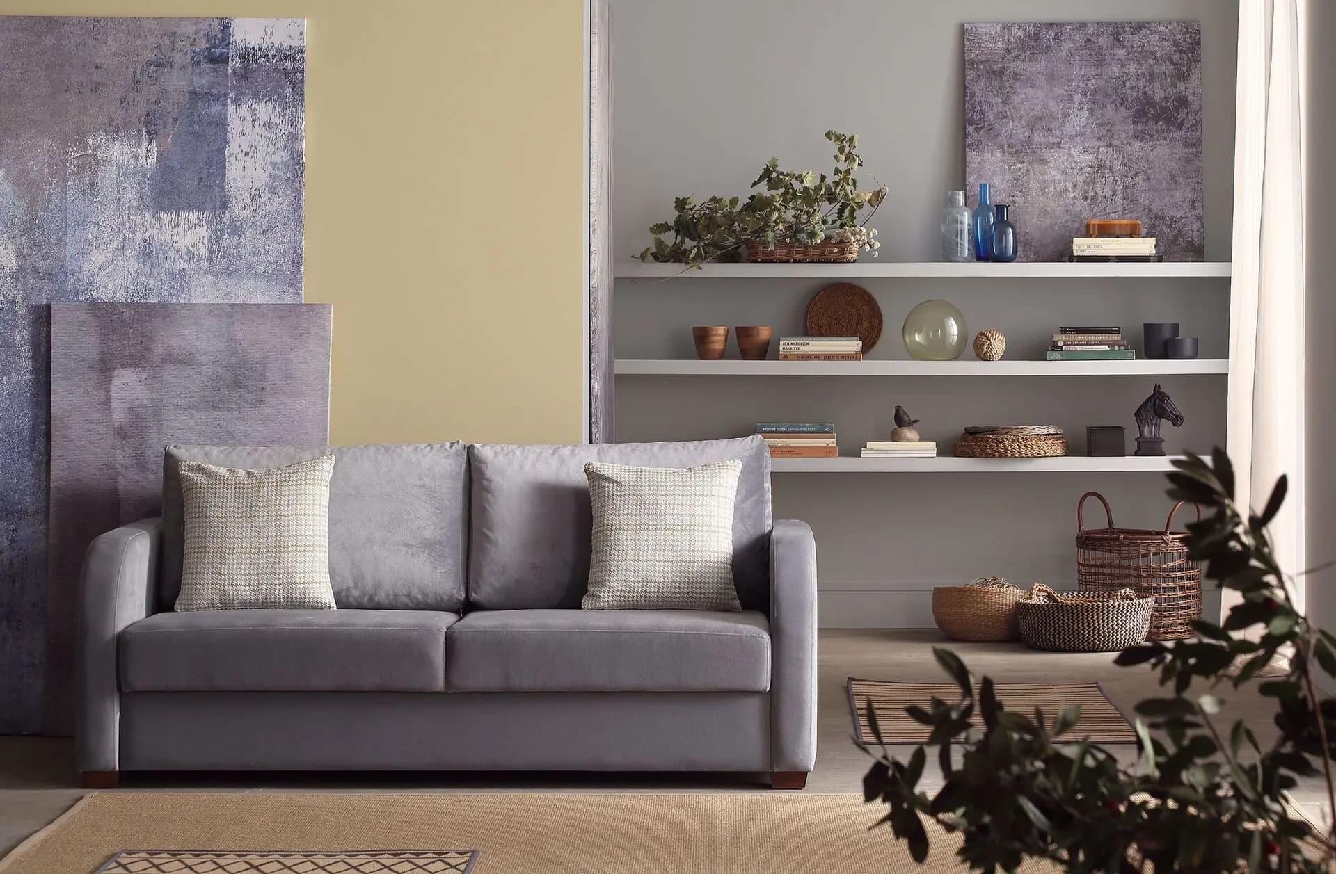 Canapea extensibila tapitata cu stofa, 2 locuri Marvin II Velvet Gri, l190xA82xH98 cm