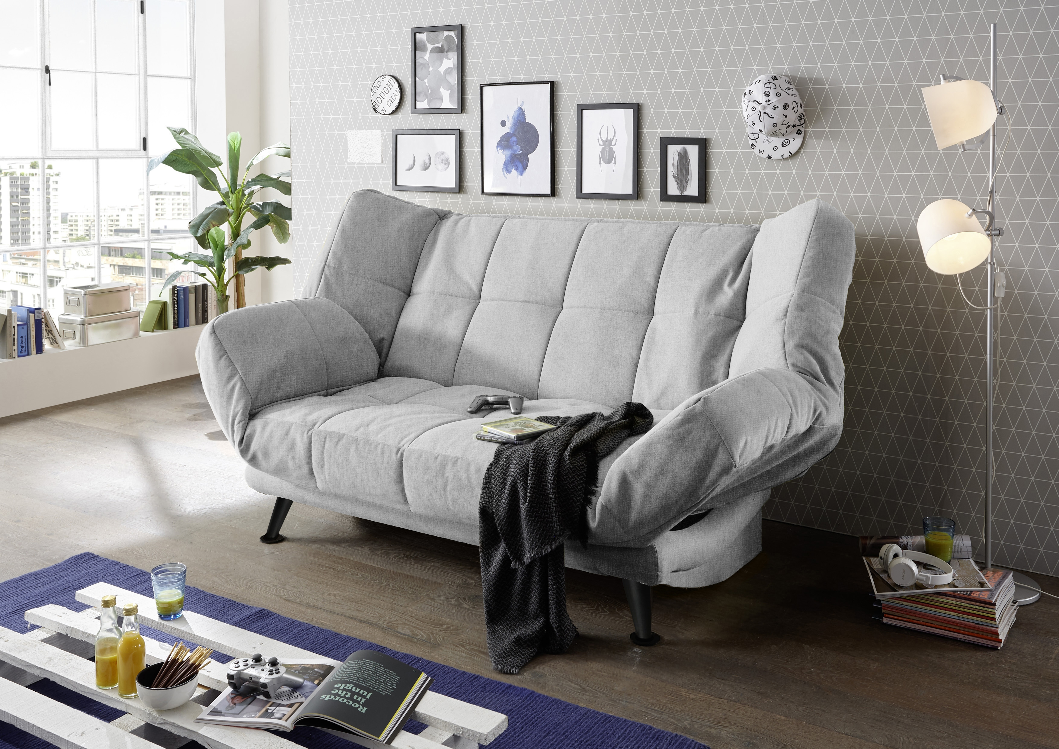Canapea extensibila cu lada de depozitare, tapitata cu stofa, 3 locuri Ikaris 2 Gri, l208xA98xH102 cm poza