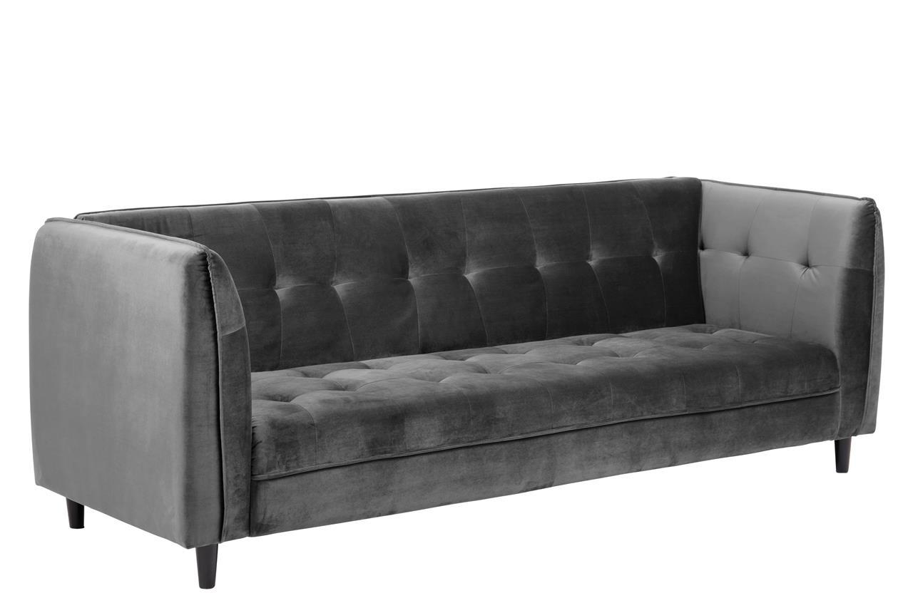 Canapea extensibila tapitata cu stofa, 3 locuri Jonna Velvet Gri Inchis, l235xA87xH85 cm