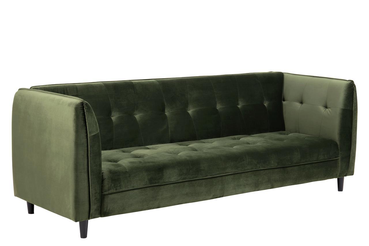 Canapea extensibila tapitata cu stofa, 3 locuri Jonna Velvet Verde Inchis, l235xA87xH85 cm