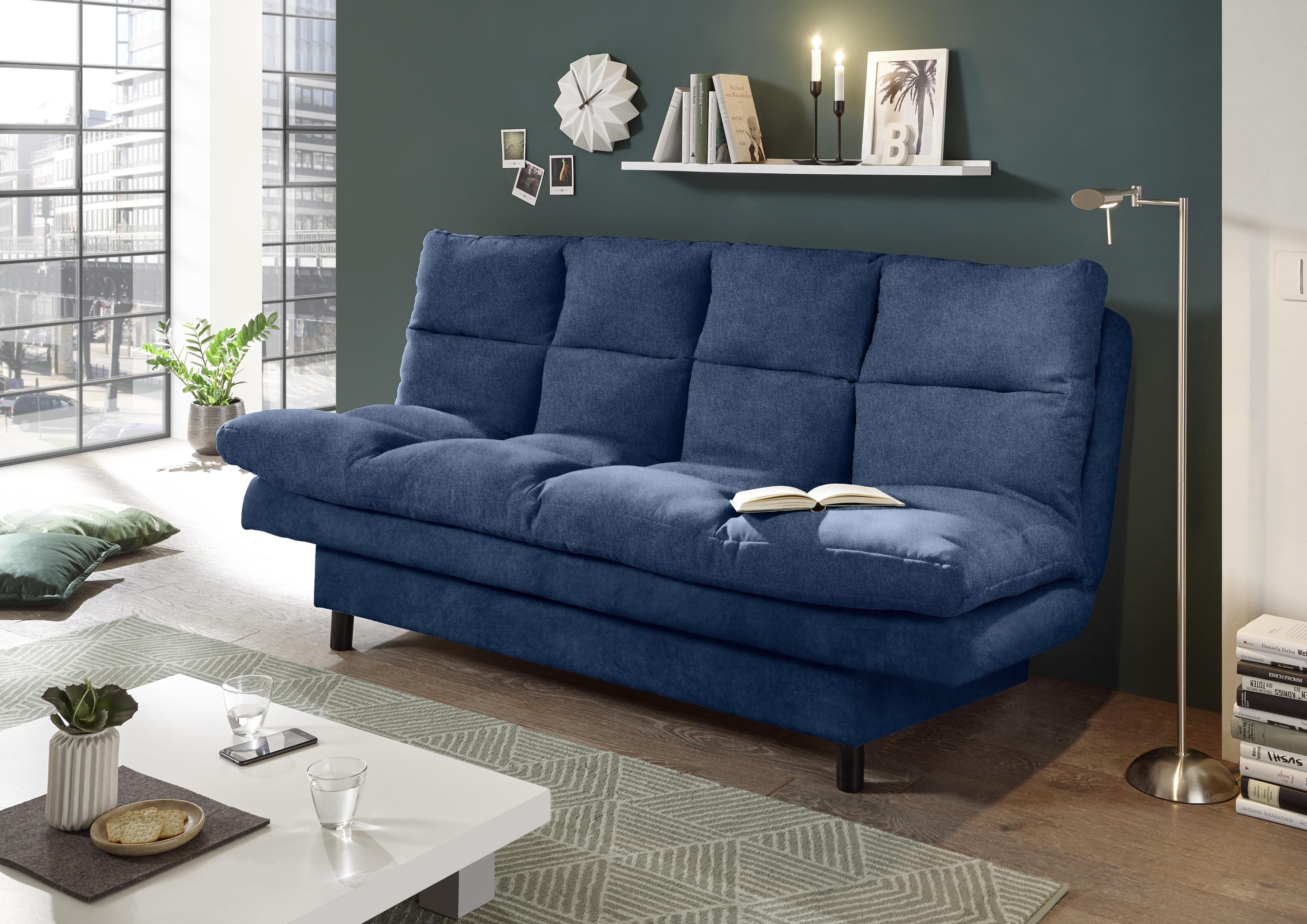 Canapea extensibila tapitata cu stofa, 3 locuri Lotta 2 Bleumarin, l190xA95xH85 cm