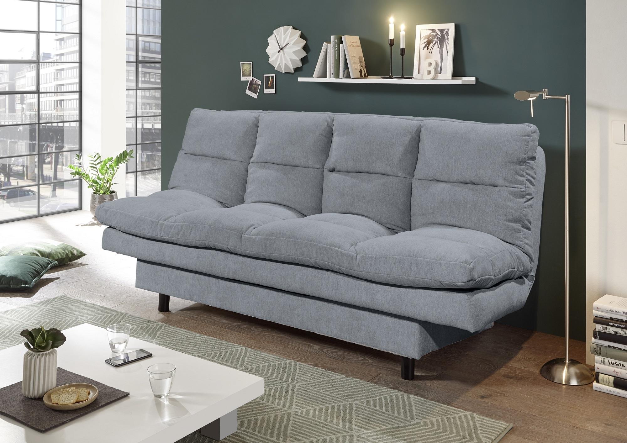 Canapea extensibila tapitata cu stofa, 3 locuri Lotta Antracit, l190xA95xH85 cm