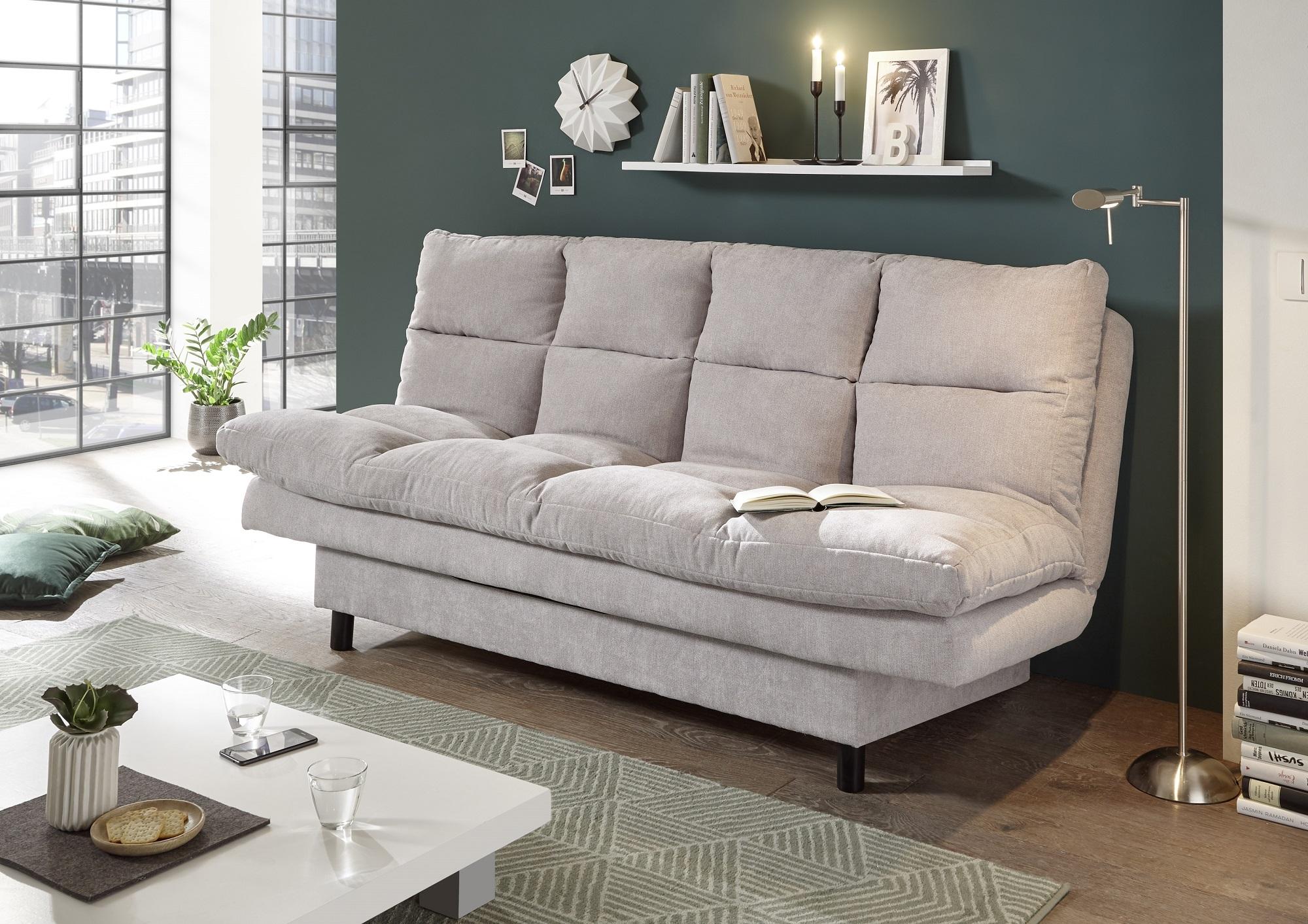 Canapea extensibila tapitata cu stofa, 3 locuri Lotta Gri, l190xA95xH85 cm