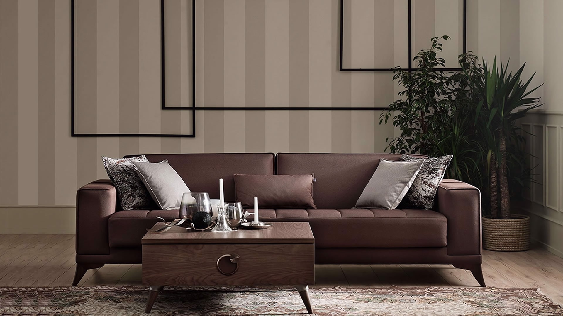 Canapea extensibila tapitata cu stofa, 3 locuri Maison Maro, l234xA85xH80 cm