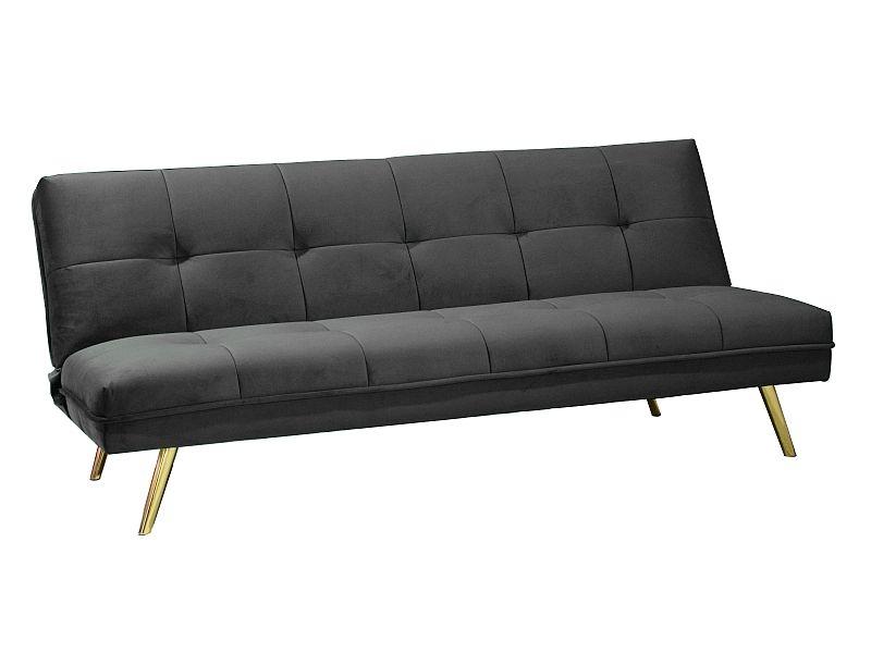 Canapea extensibila tapitata cu stofa, 3 locuri Moritz Velvet Gri / Auriu, l181xA88xH80 cm